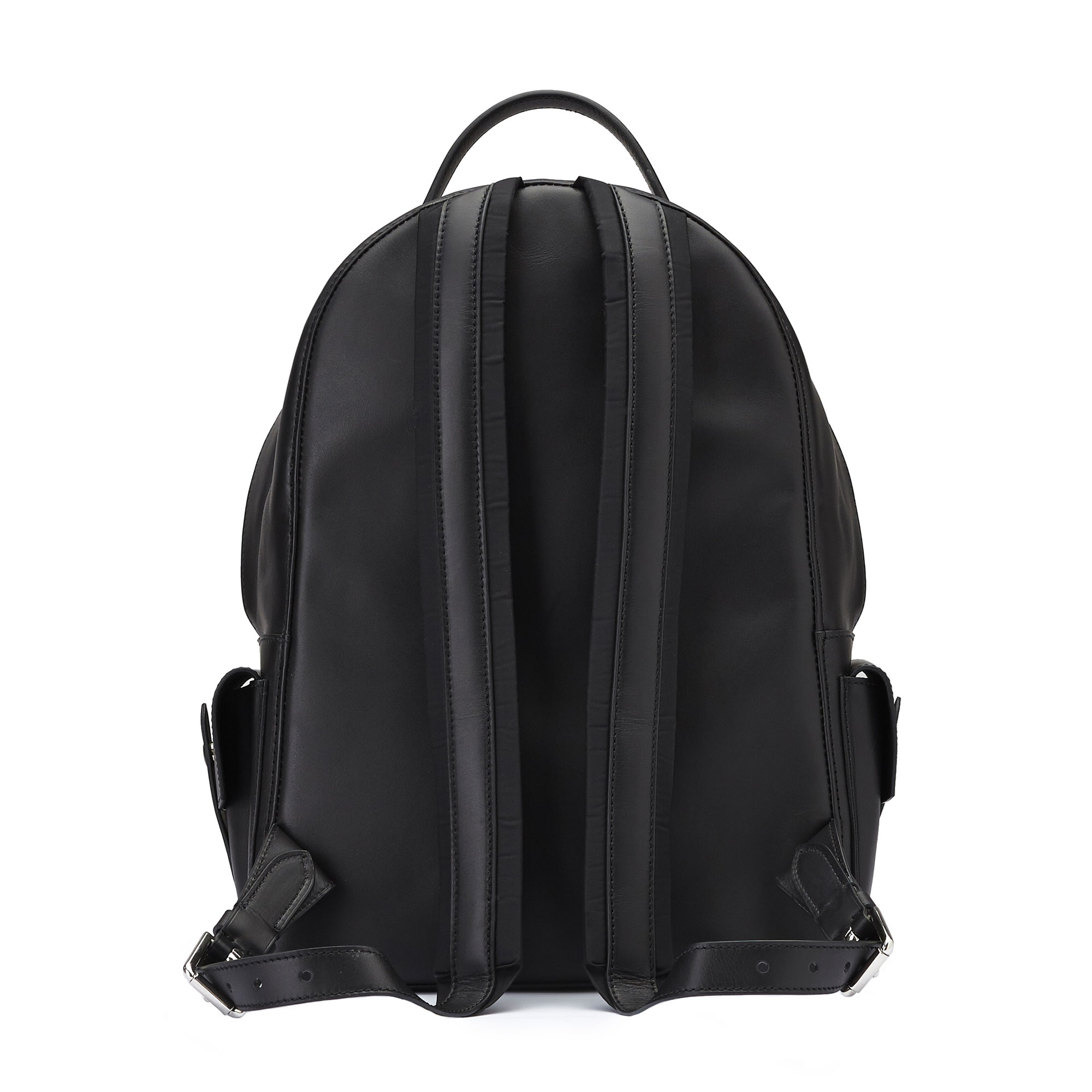 The black french calf Zip Backpack by Bertoni 1949 03