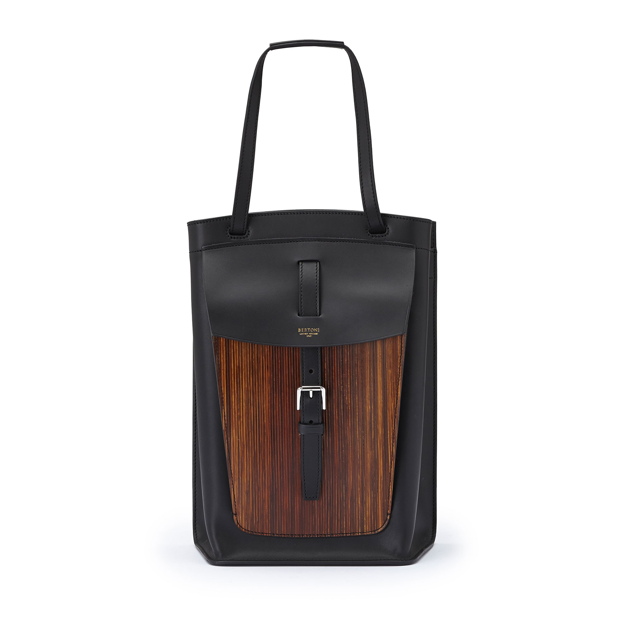 The black french calf, wood leather Arizona bucket bag by Bertoni 1949 01