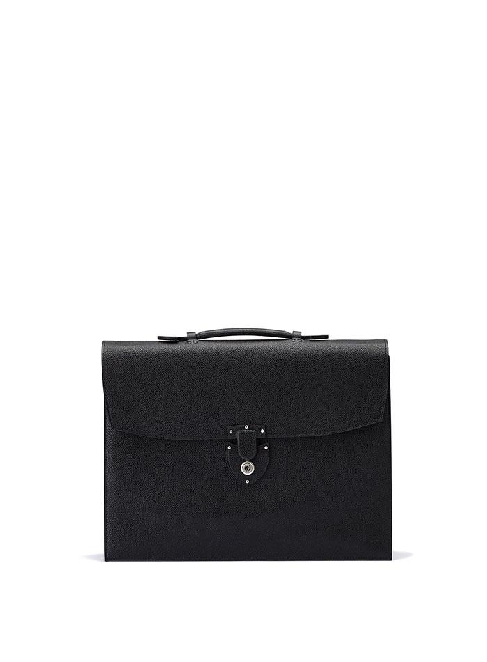 The black grain calf Double Gusset Briefcase by Bertoni