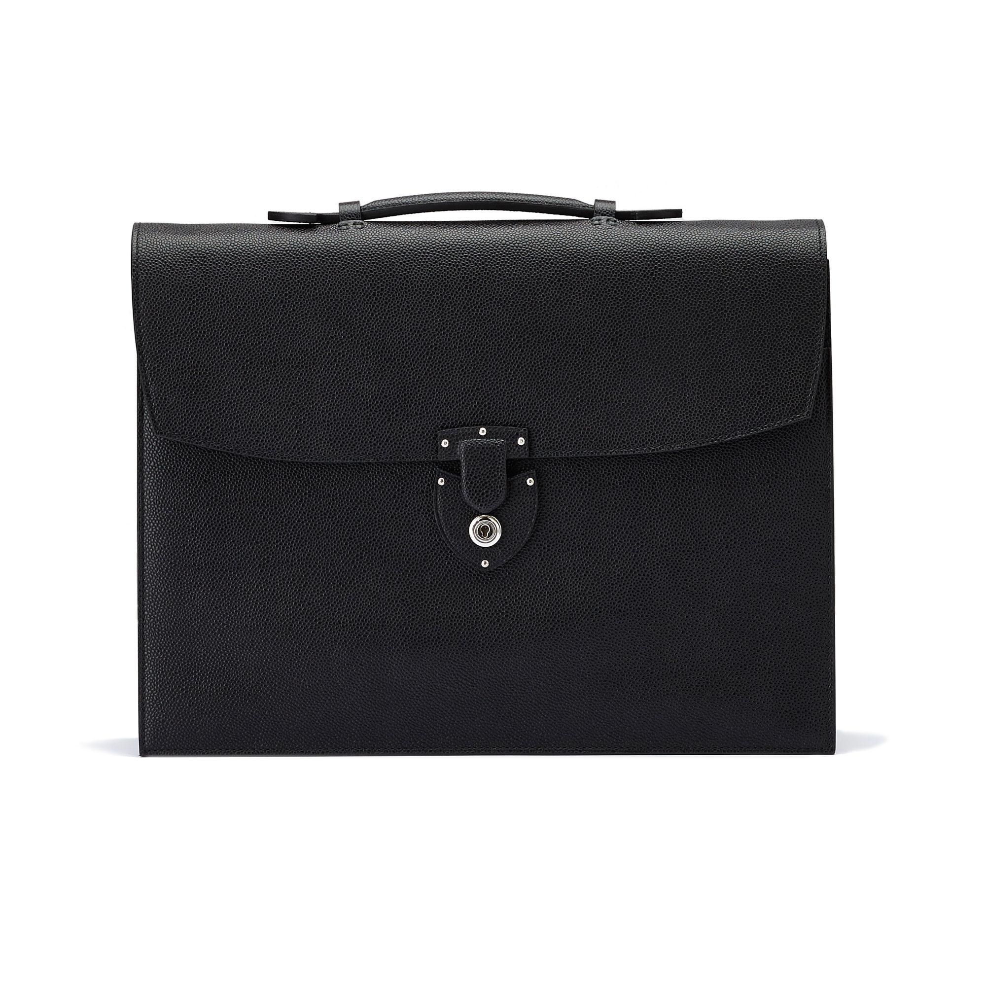 The black grain calf Double Gusset Briefcase by Bertoni 01