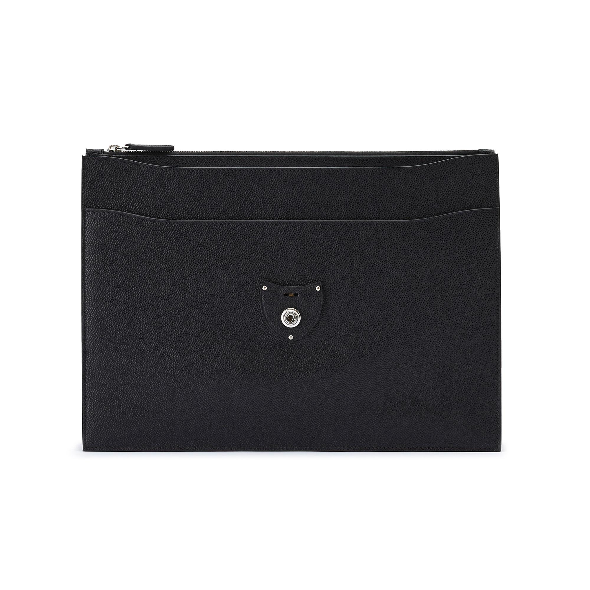 The black grain calf Double Gusset Briefcase by Bertoni 02