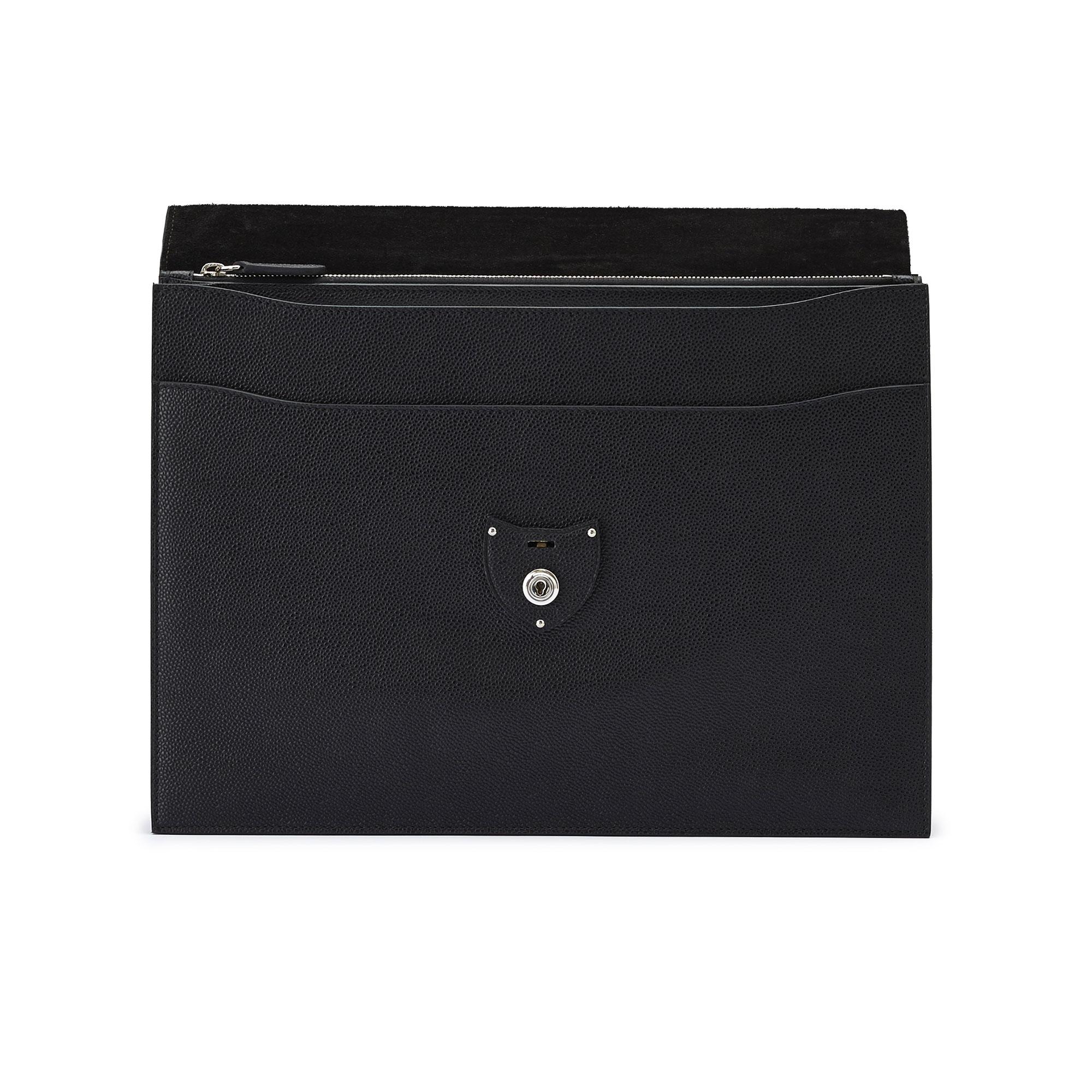 The black grain calf Double Gusset Briefcase by Bertoni 03