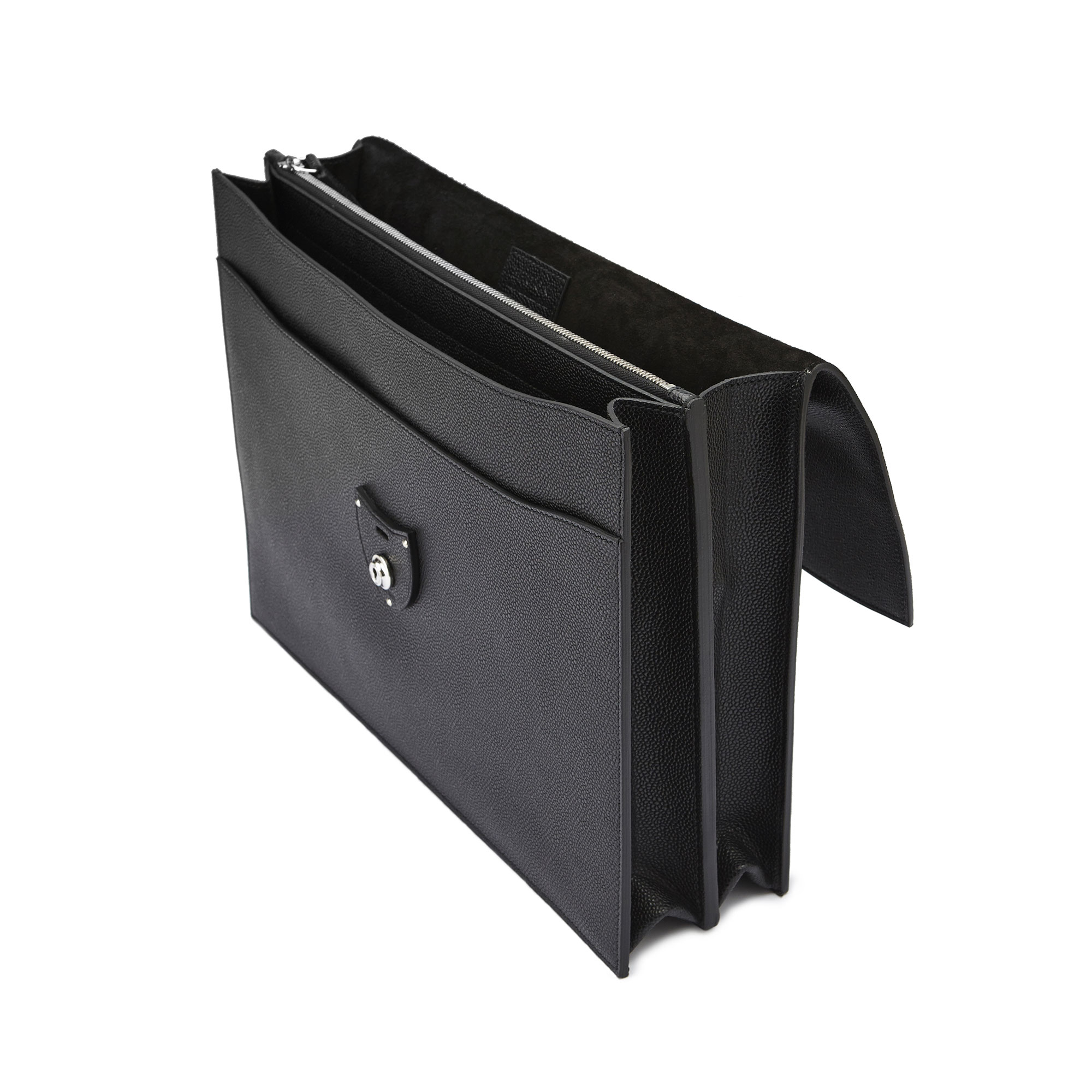 The black grain calf Double Gusset Briefcase by Bertoni 04