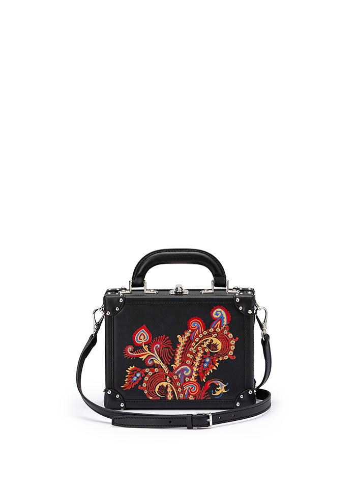 The black with hand painted paisley french calf Mini Squared Bertoncina bag by Bertoni 1949