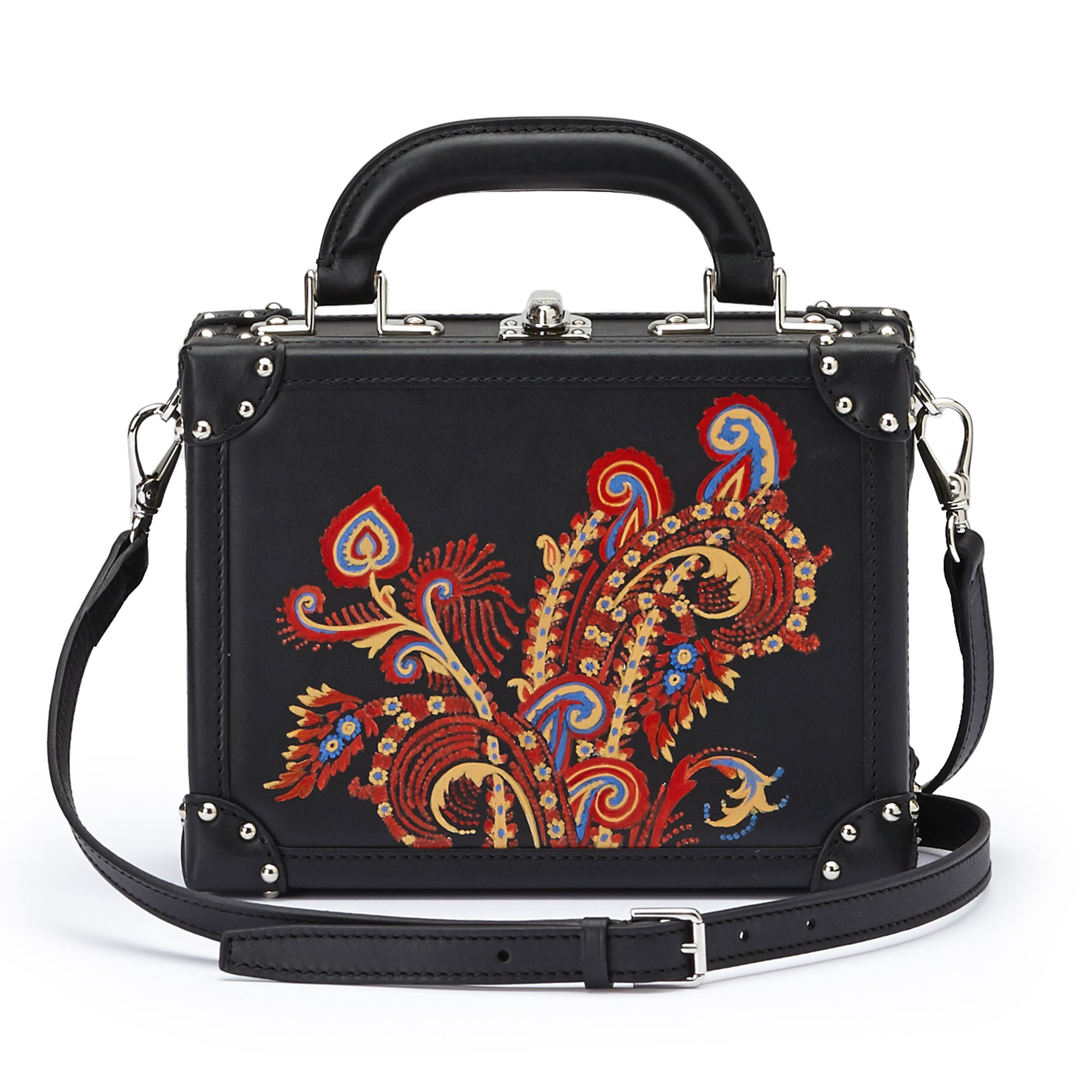 The black with hand painted paisley french calf Mini Squared Bertoncina bag by Bertoni 1949 03