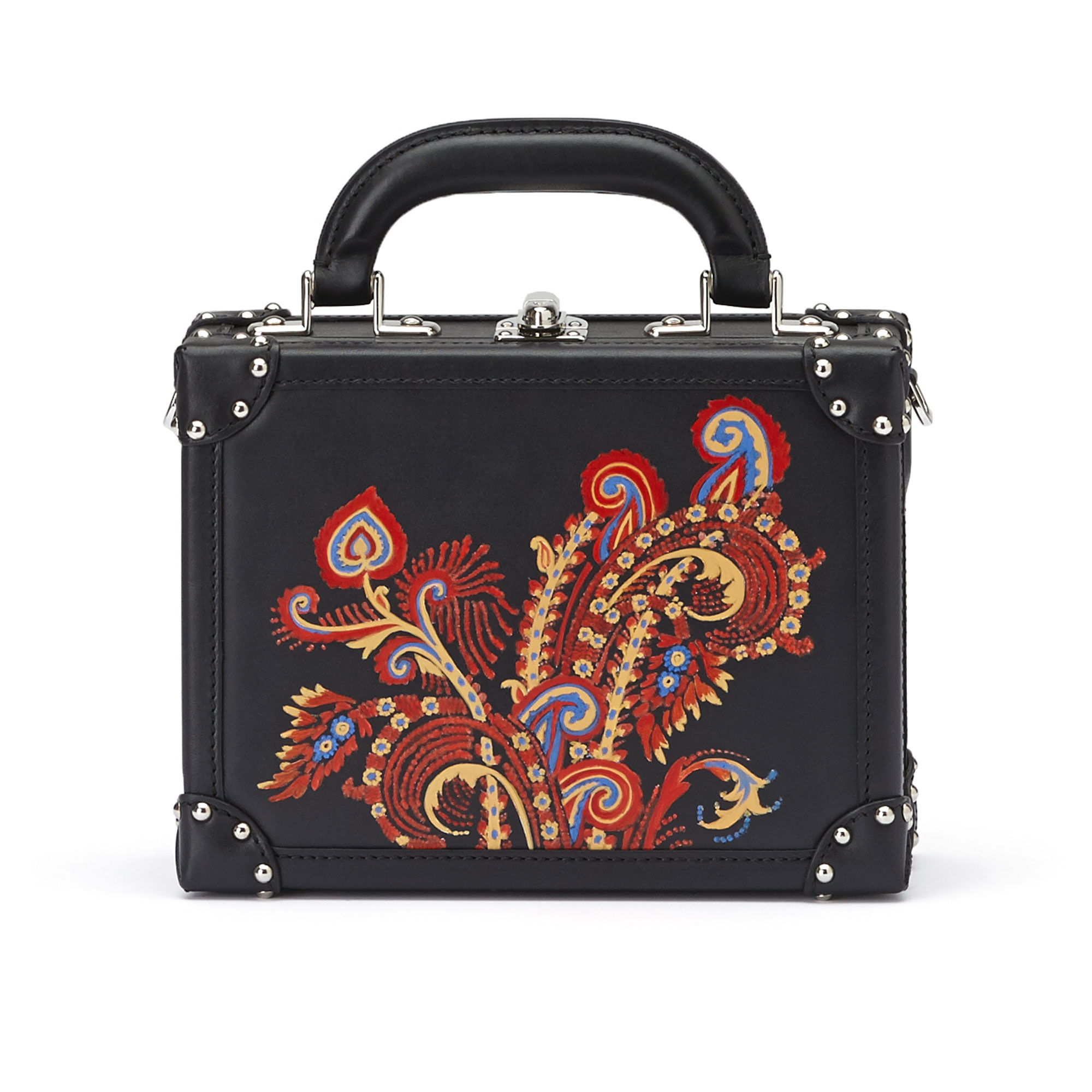 The black with hand painted paisley french calf Mini Squared Bertoncina bag by Bertoni 1949 01