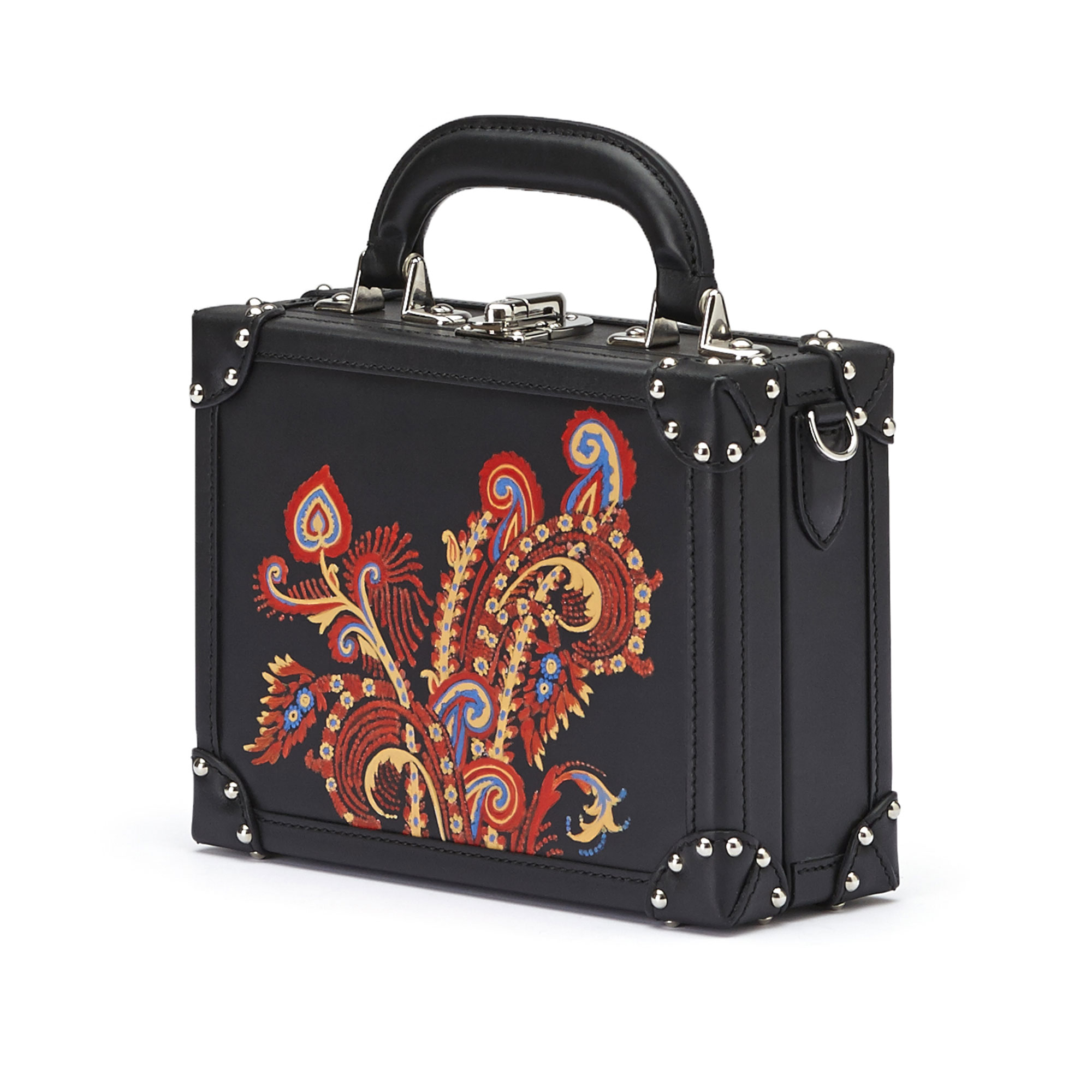The black with hand painted paisley french calf Mini Squared Bertoncina bag by Bertoni 1949 02