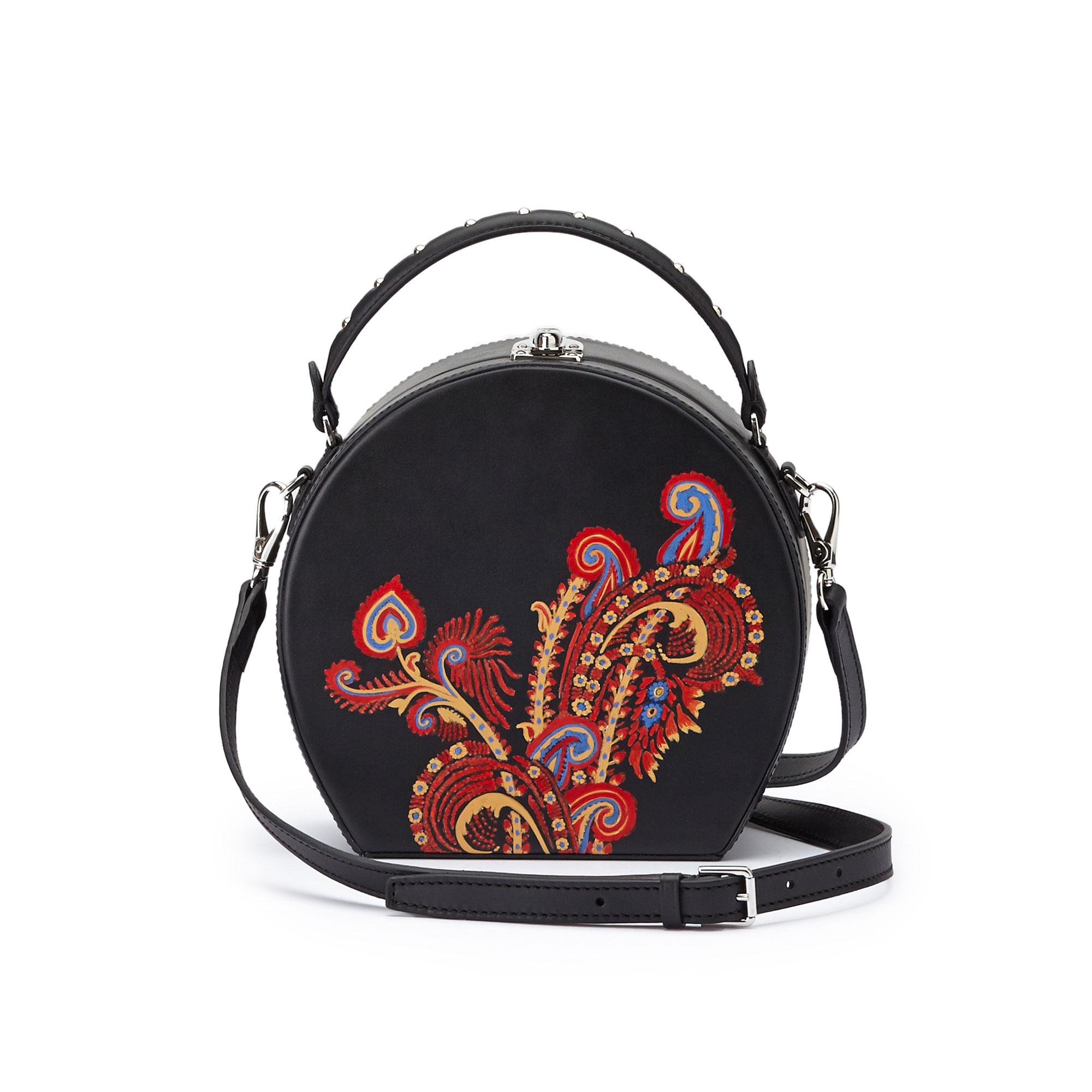 The black and hand painted paisley french calf Regular Bertoncina bag by Bertoni 1949 03