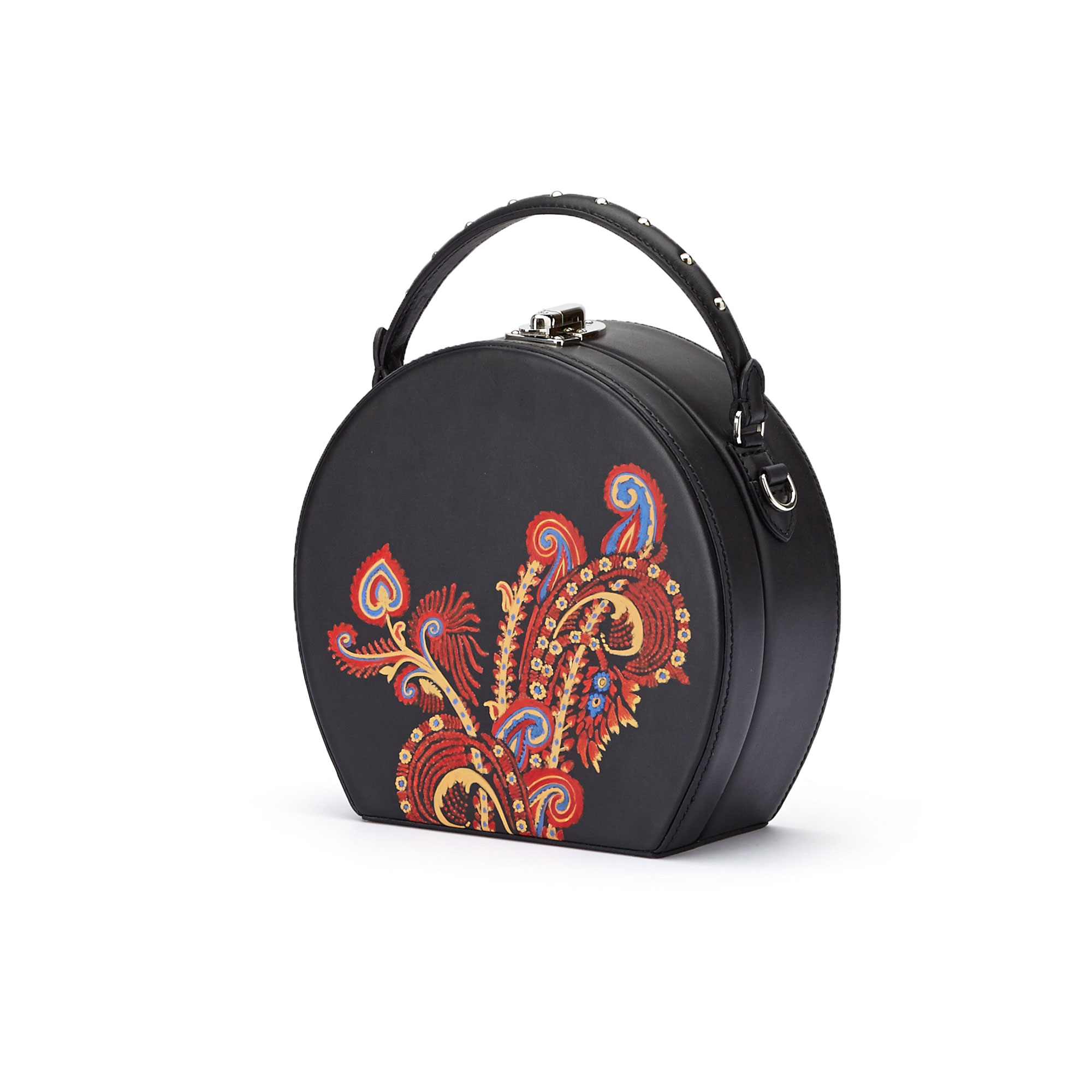The black and hand painted paisley french calf Regular Bertoncina bag by Bertoni 1949 02