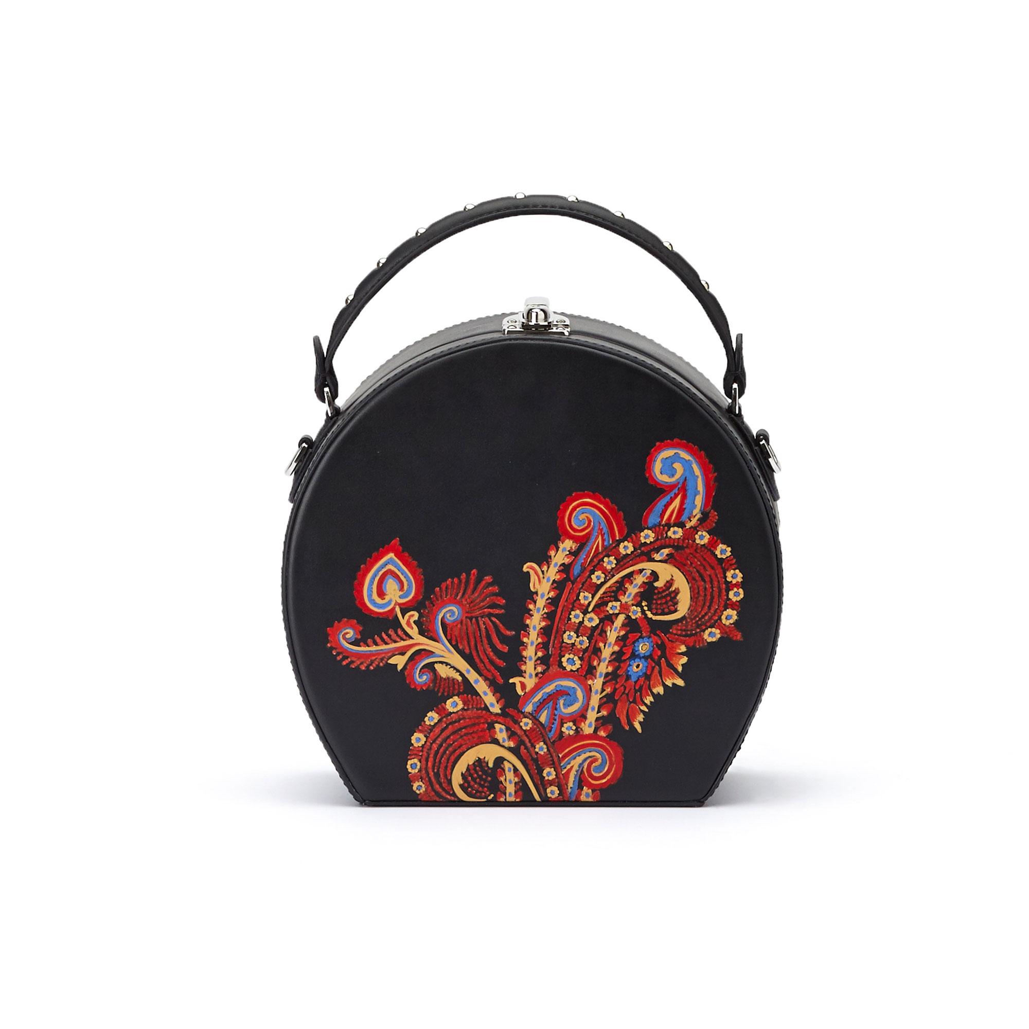 The black and hand painted paisley french calf Regular Bertoncina bag by Bertoni 1949 01