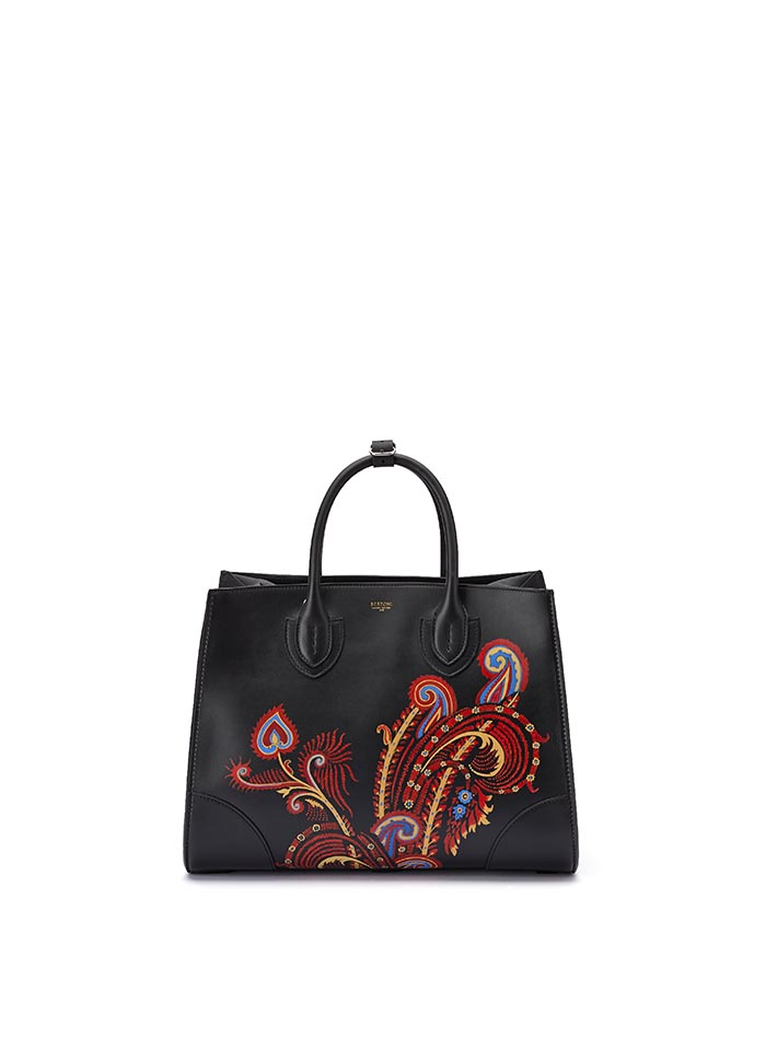 The black with hand painted paisley french calf Darcy large bag by Bertoni 1949