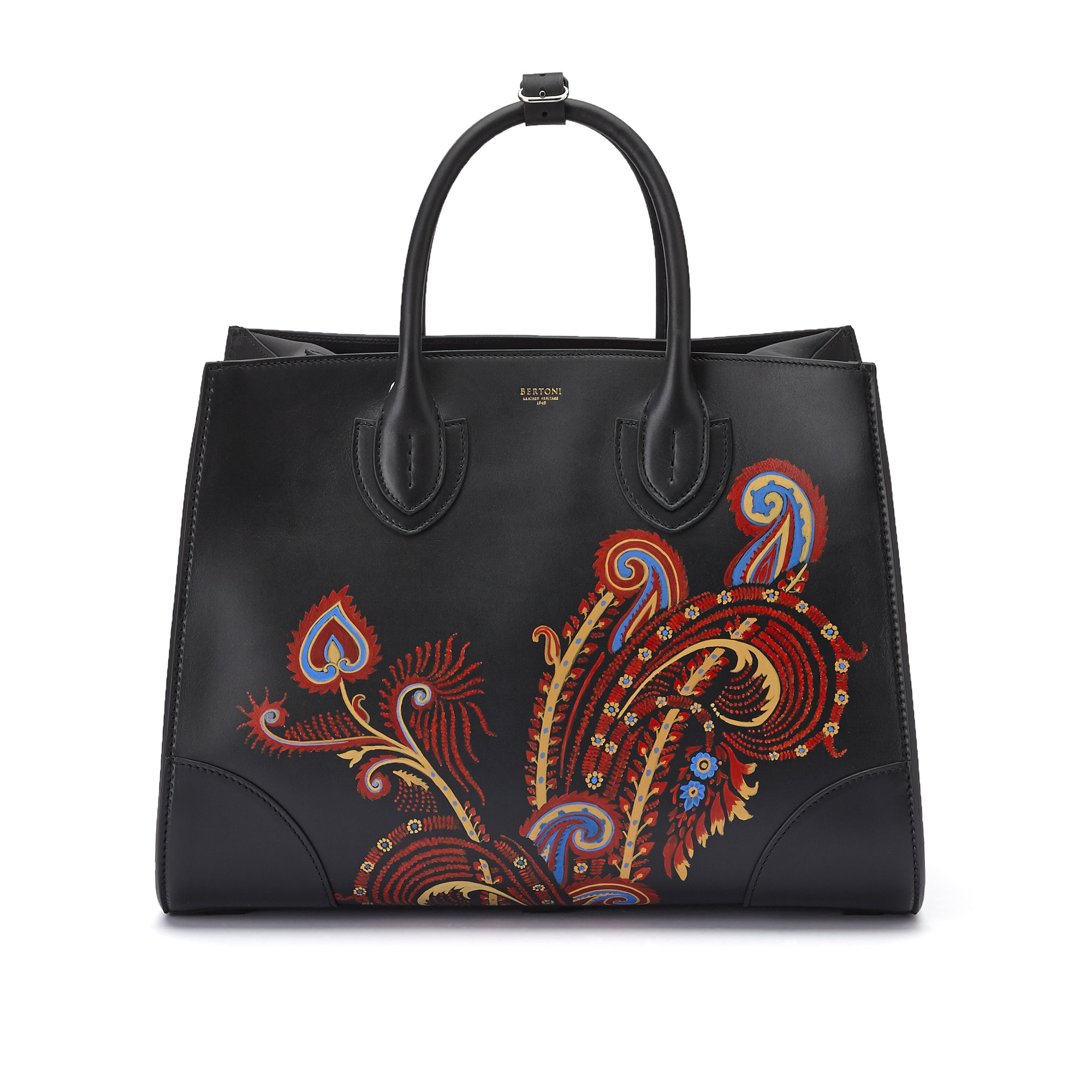 The black with hand painted paisley french calf Darcy large bag by Bertoni 1949 01