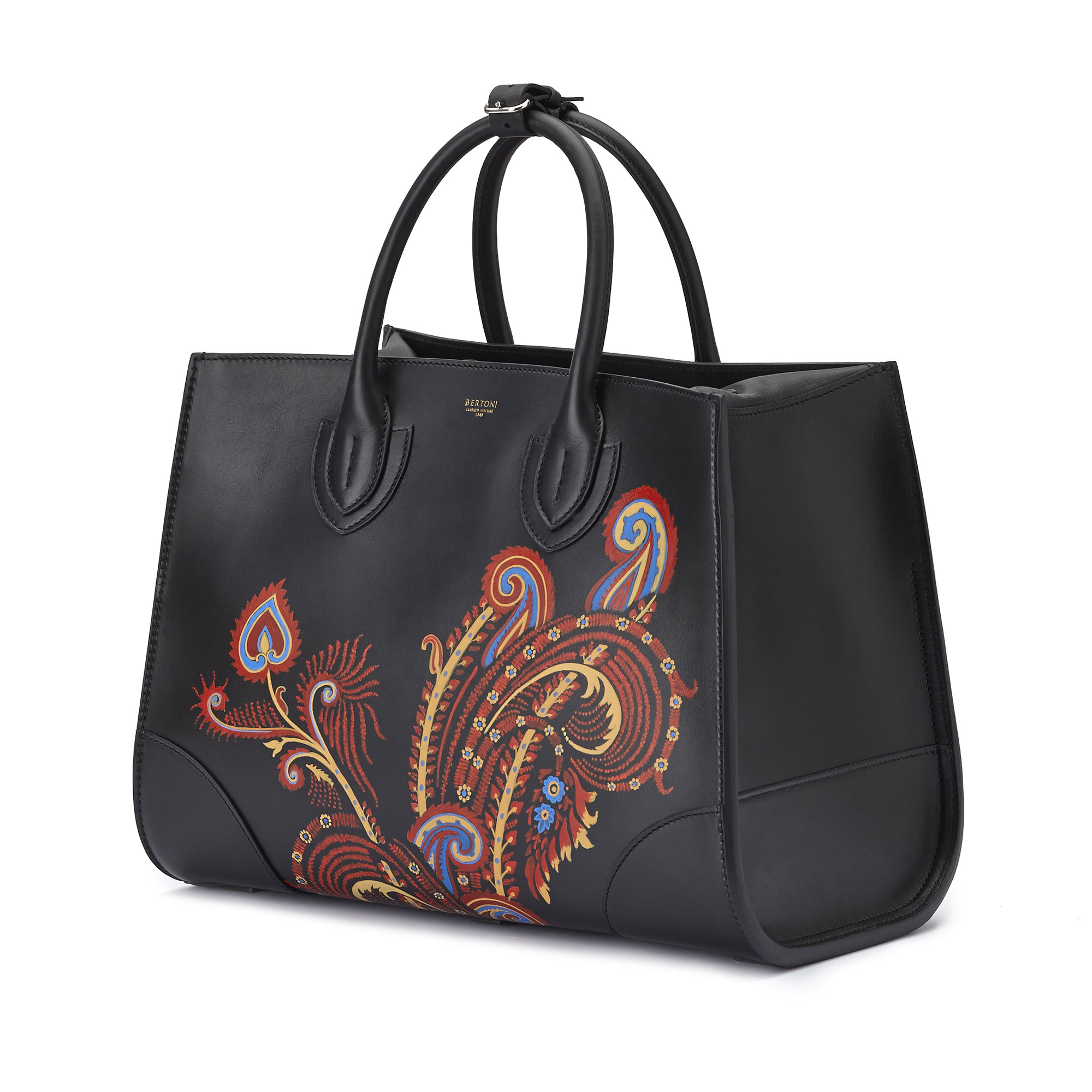 The black with hand painted paisley french calf Darcy large bag by Bertoni 1949 02