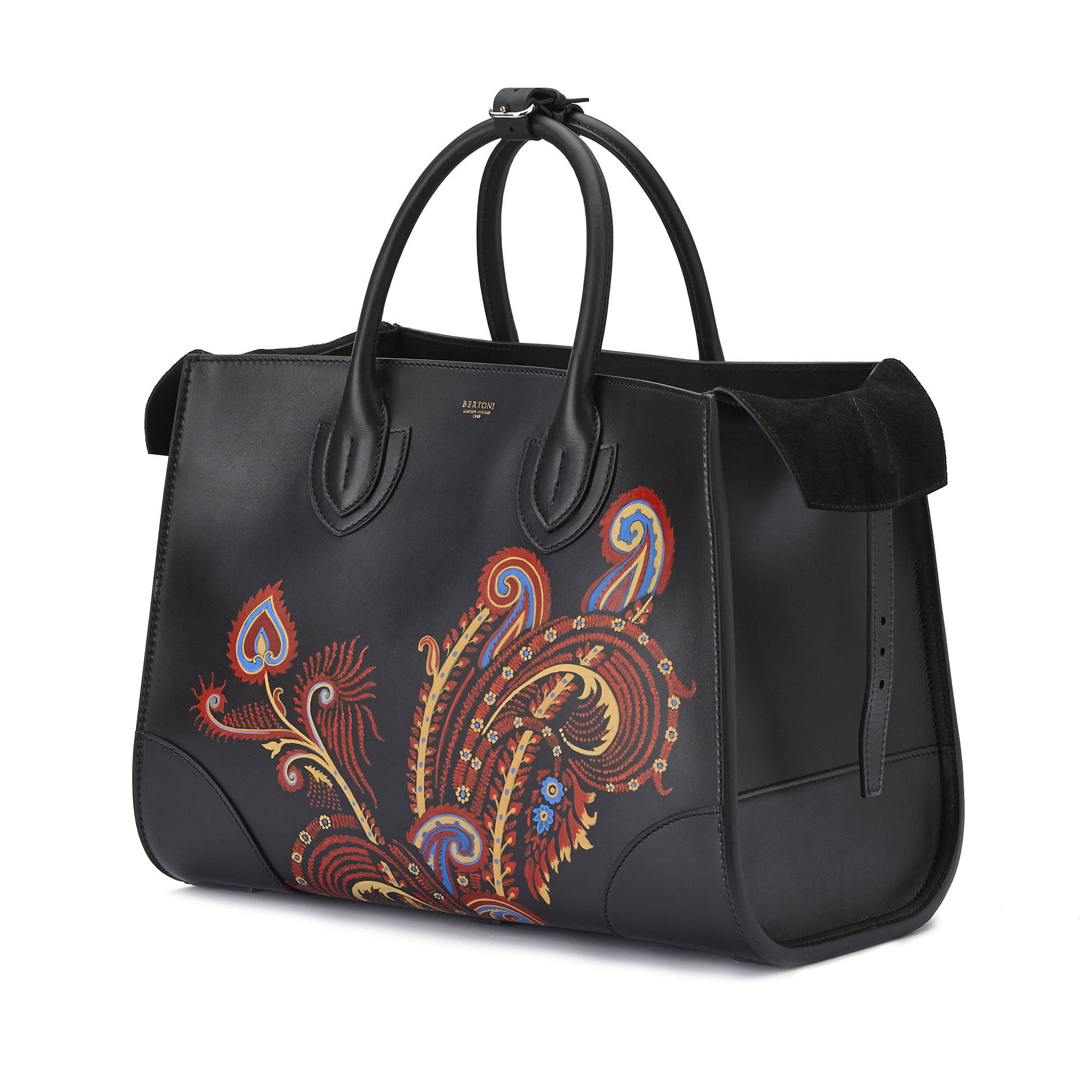 The black with hand painted paisley french calf Darcy large bag by Bertoni 1949 03
