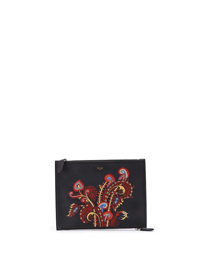 The black zip with hand painted paisley multicolor french calf Zip Pouch by Bertoni 1949