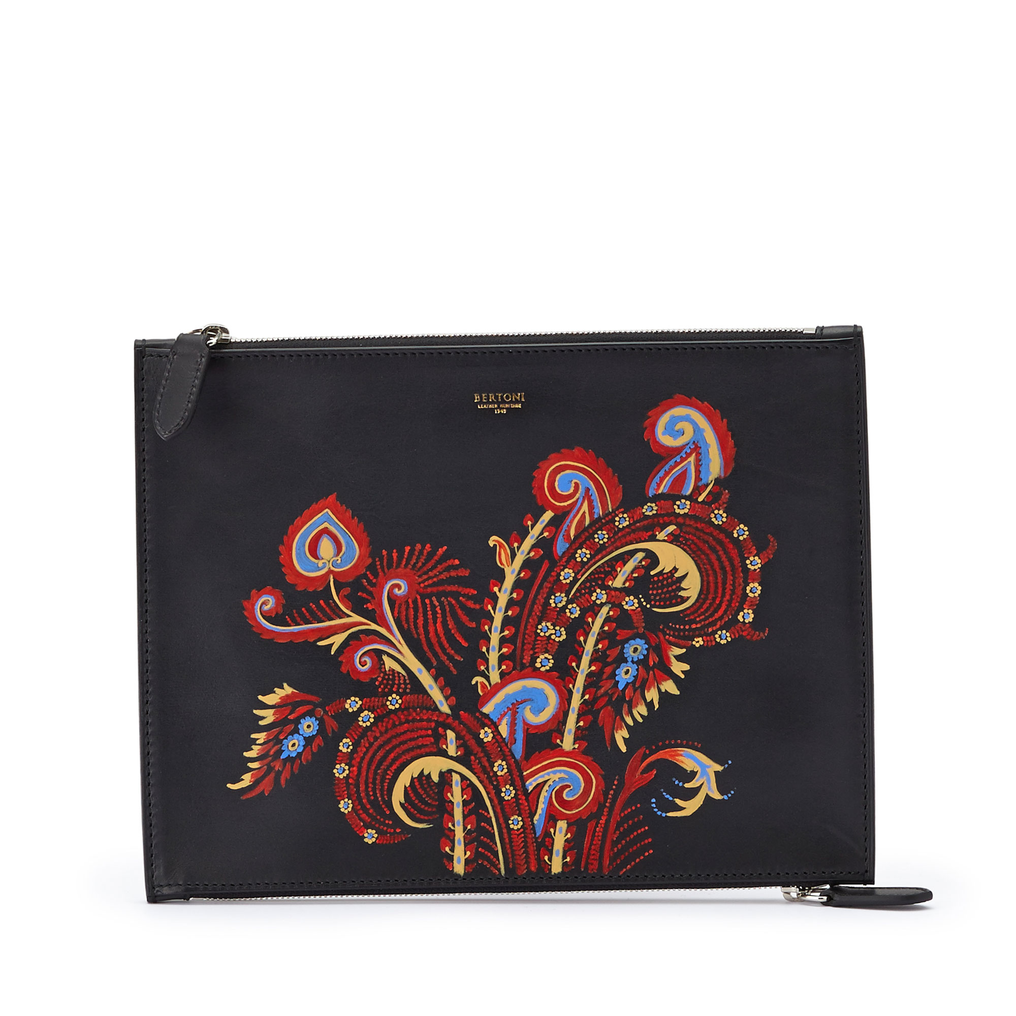 The black zip with hand painted paisley multicolor french calf Zip Pouch by Bertoni 1949 01