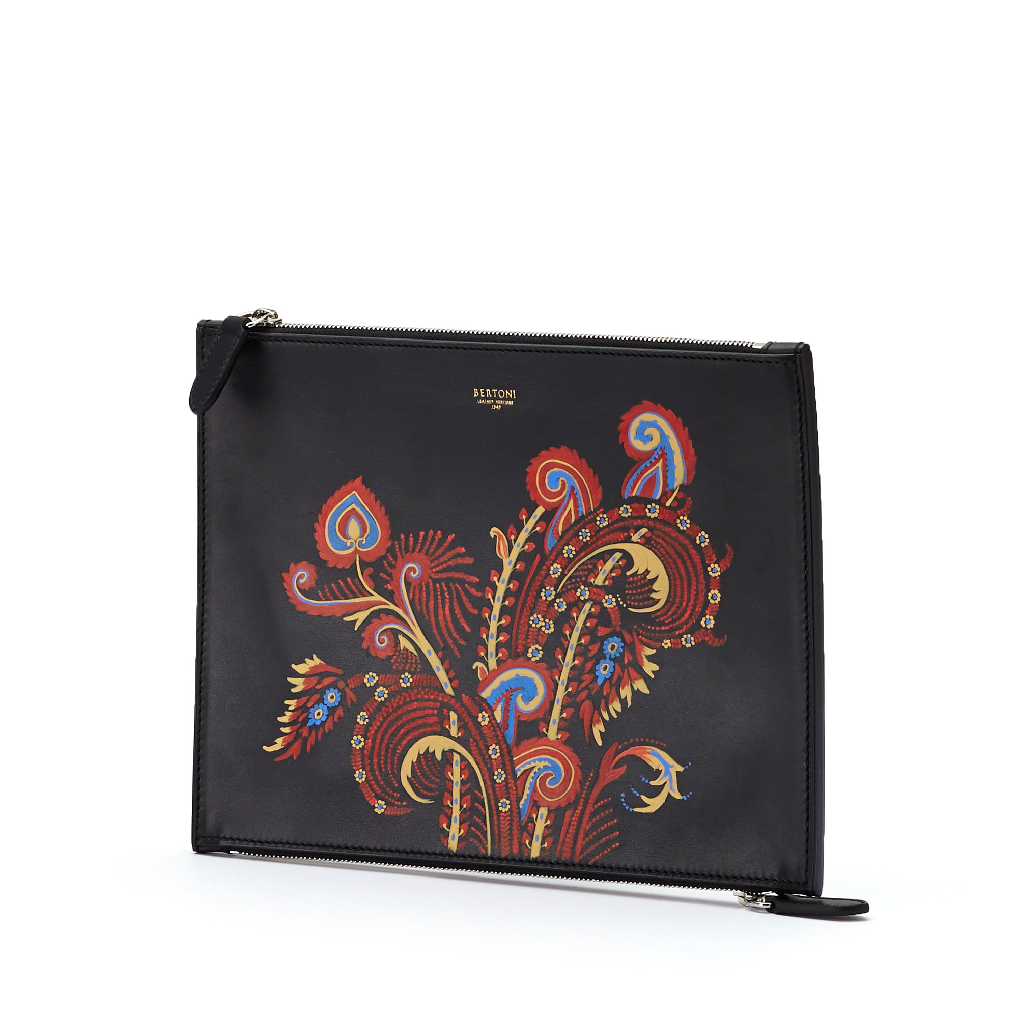 The black zip with hand painted paisley multicolor french calf Zip Pouch by Bertoni 1949 02