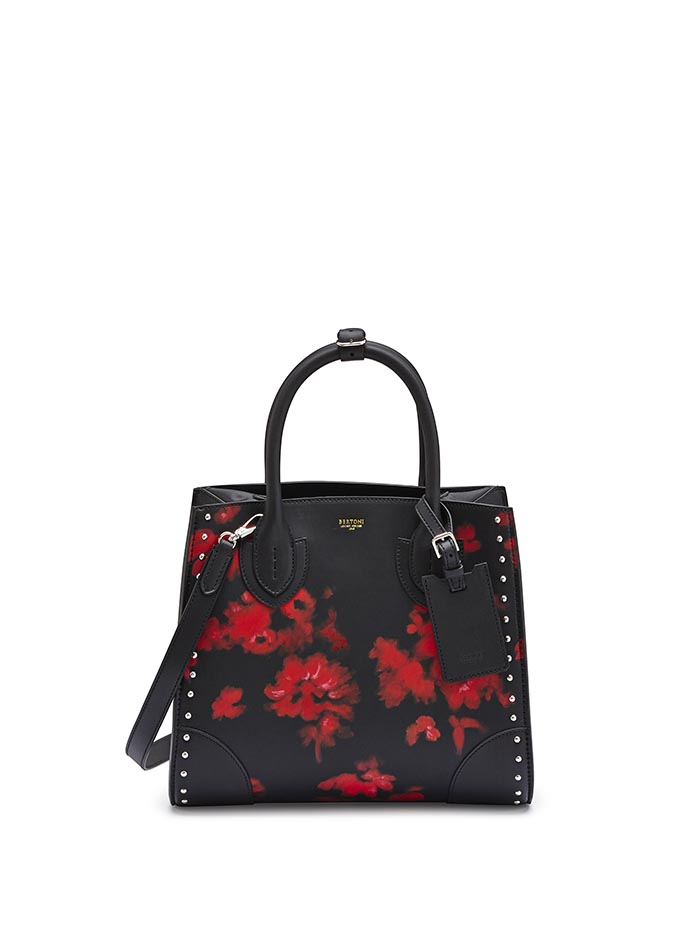The black with hand painted red flowers french calf Darcy medium bag by Bertoni 1949