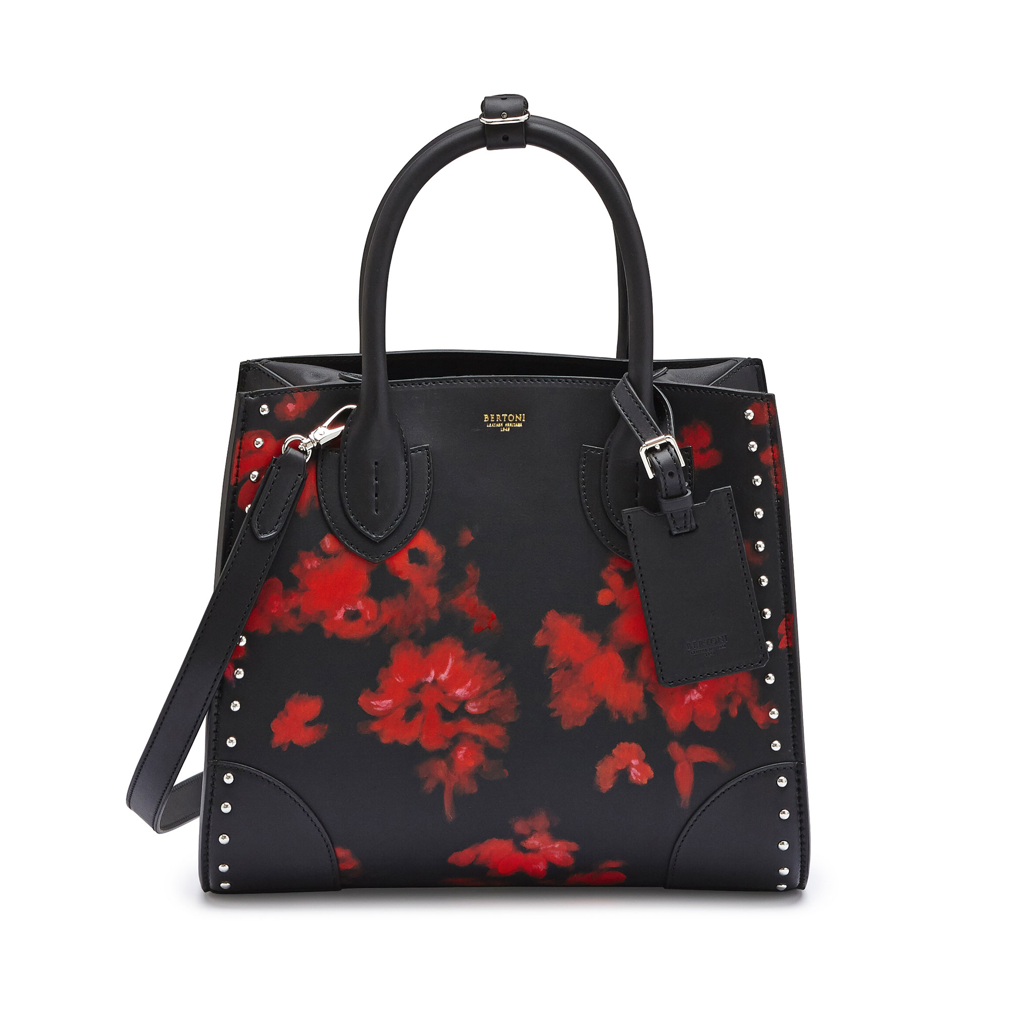 The black with hand painted red flowers french calf Darcy medium bag by Bertoni 1949 01