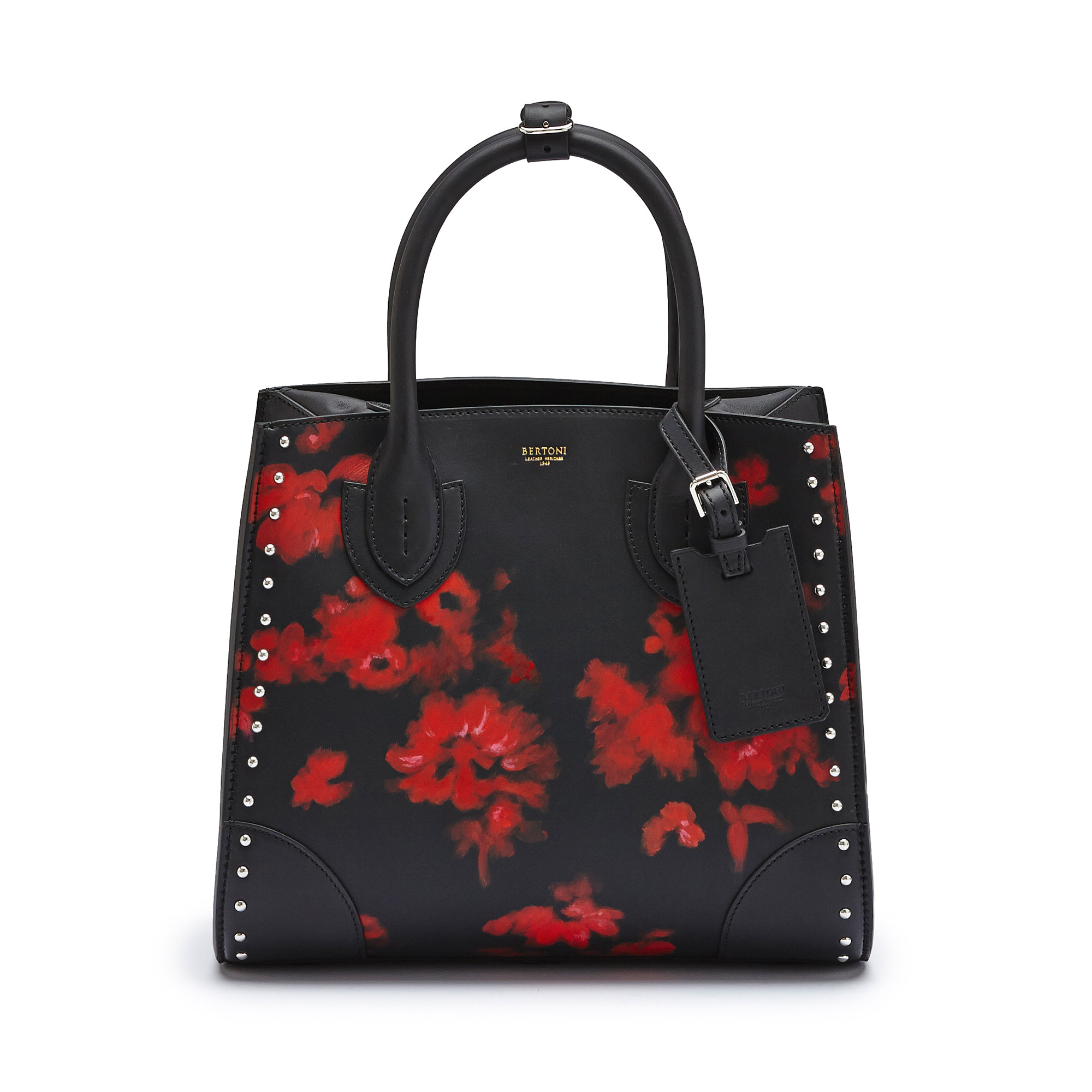 The black with hand painted red flowers french calf Darcy medium bag by Bertoni 1949 02