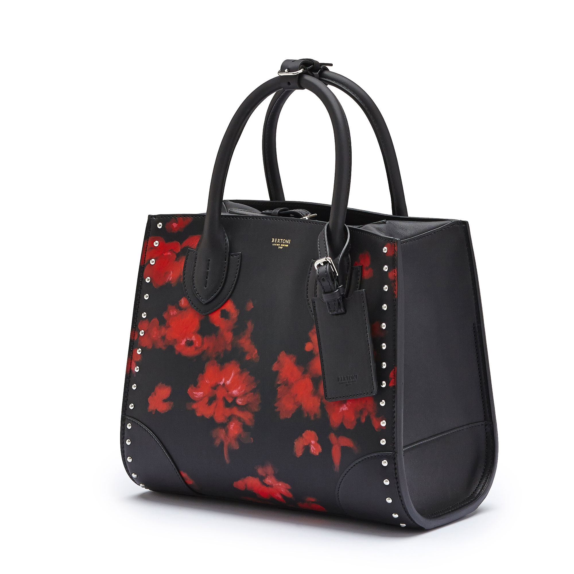 The black with hand painted red flowers french calf Darcy medium bag by Bertoni 1949 03