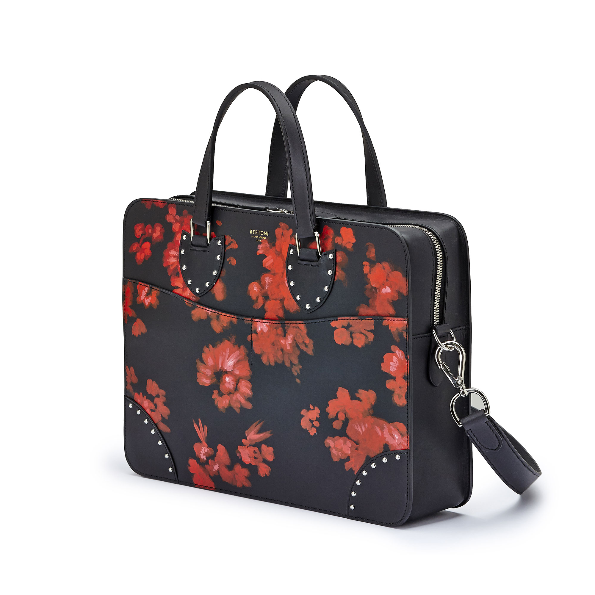 The black with red flowers french calf Double Handle 37 by Bertoni 1949 04