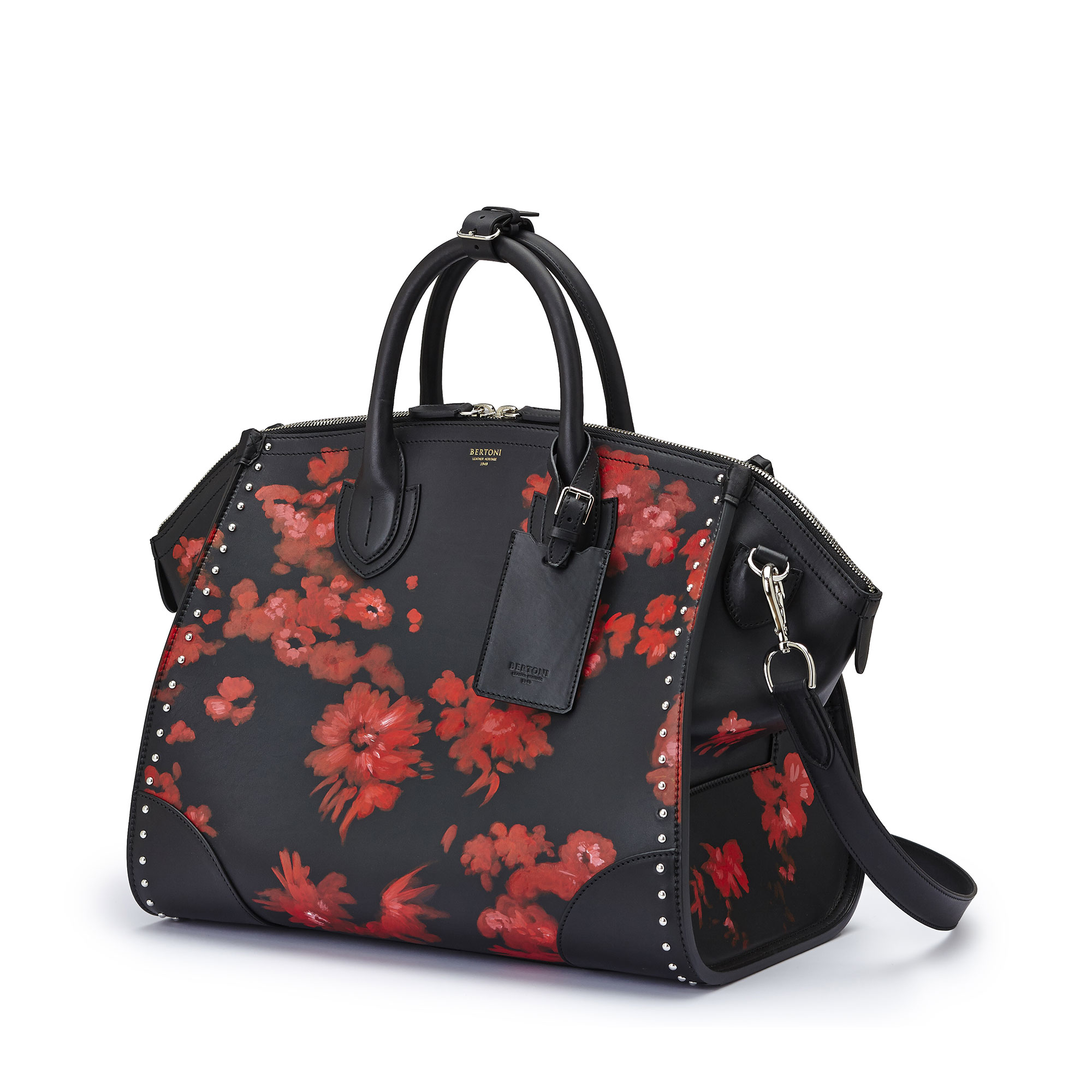 The black with red flowers french calf Medium Gulliver by Bertoni 1949 04