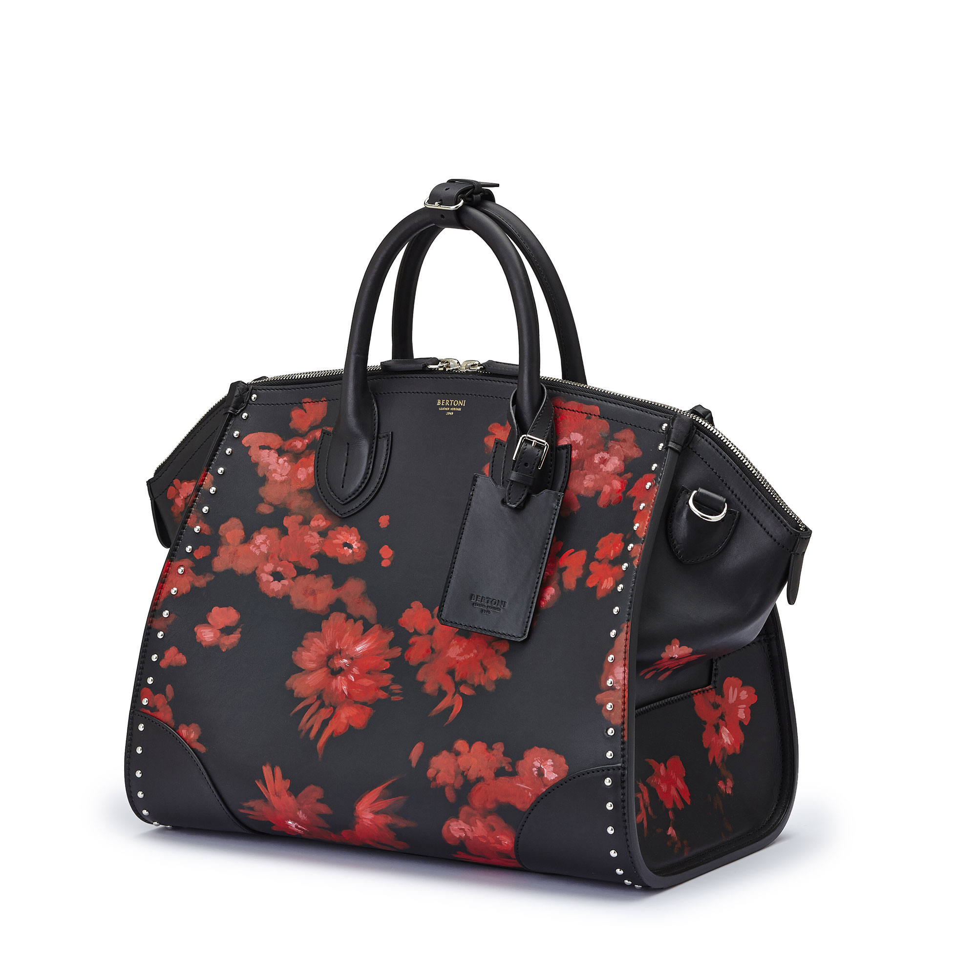 The black with red flowers french calf Medium Gulliver by Bertoni 1949 02