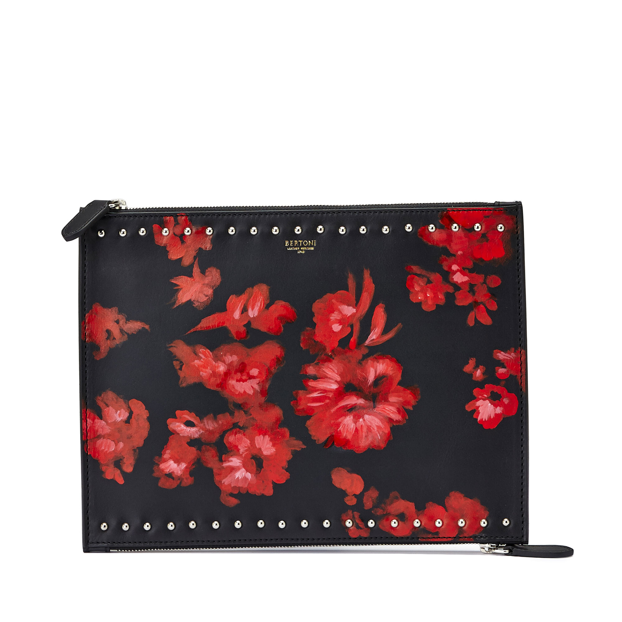 The black and red flowers french calf Zip Pouch by Bertoni 1949 01