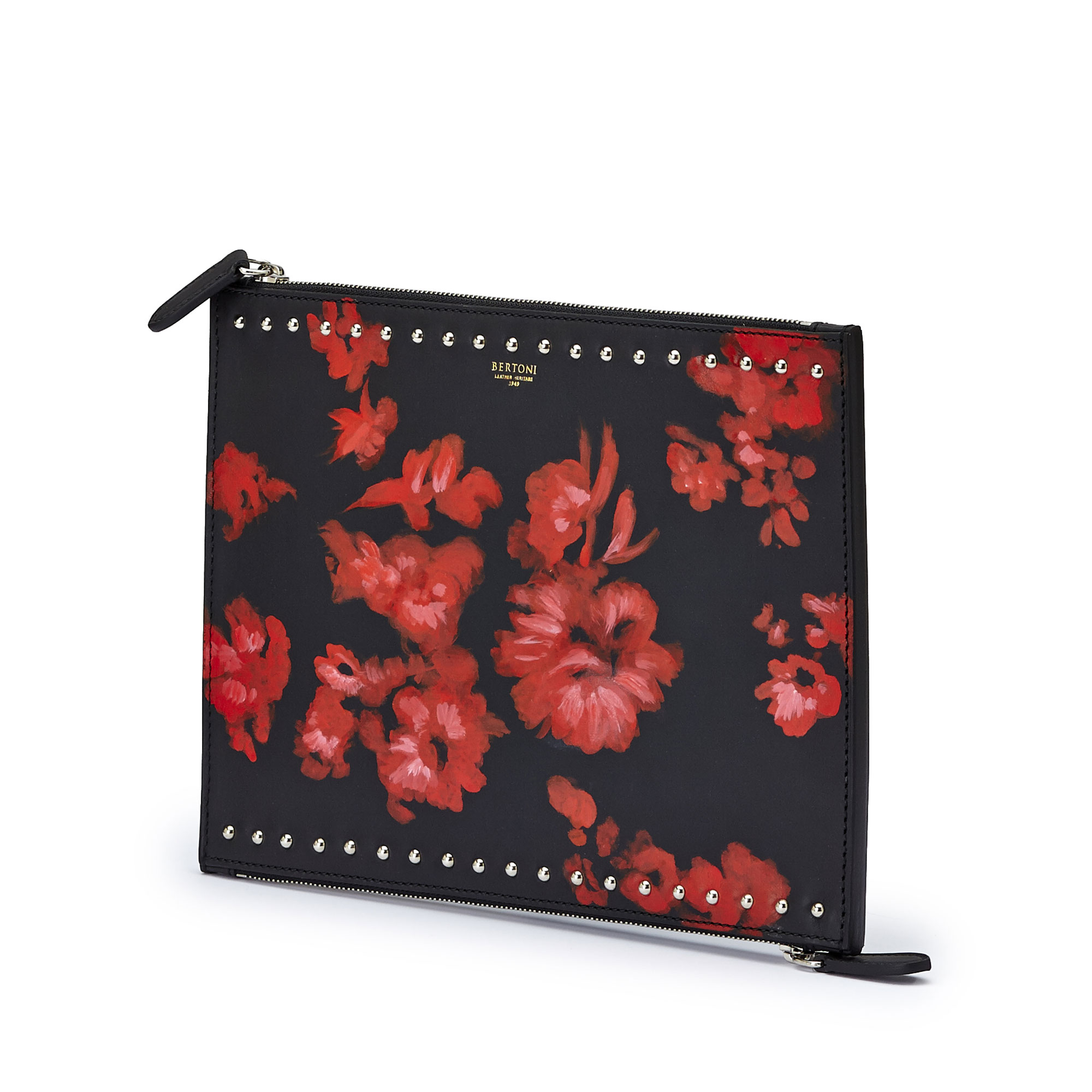 The black and red flowers french calf Zip Pouch by Bertoni 1949 02