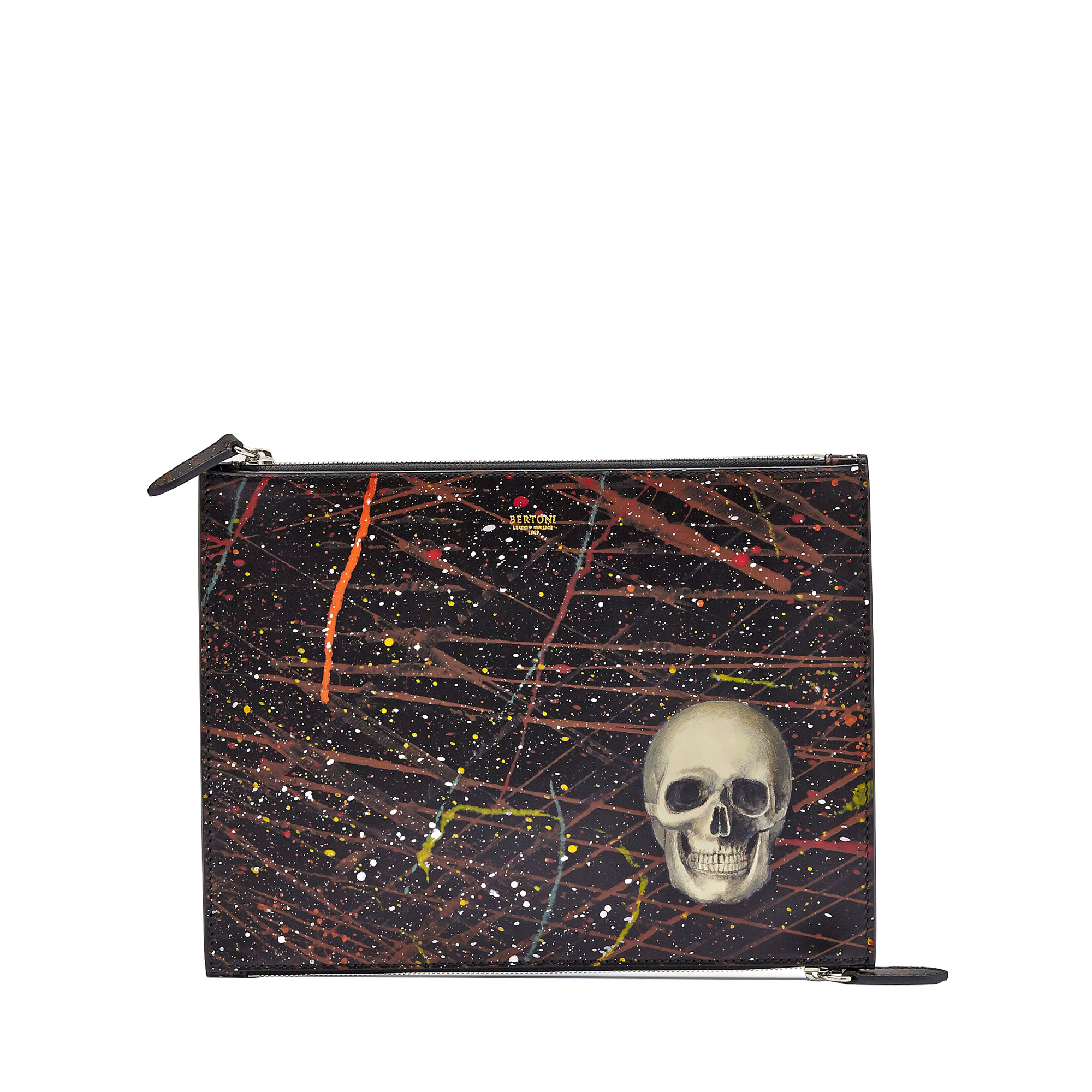 The black with skull french calf Zip Pouch by Bertoni 1949 01