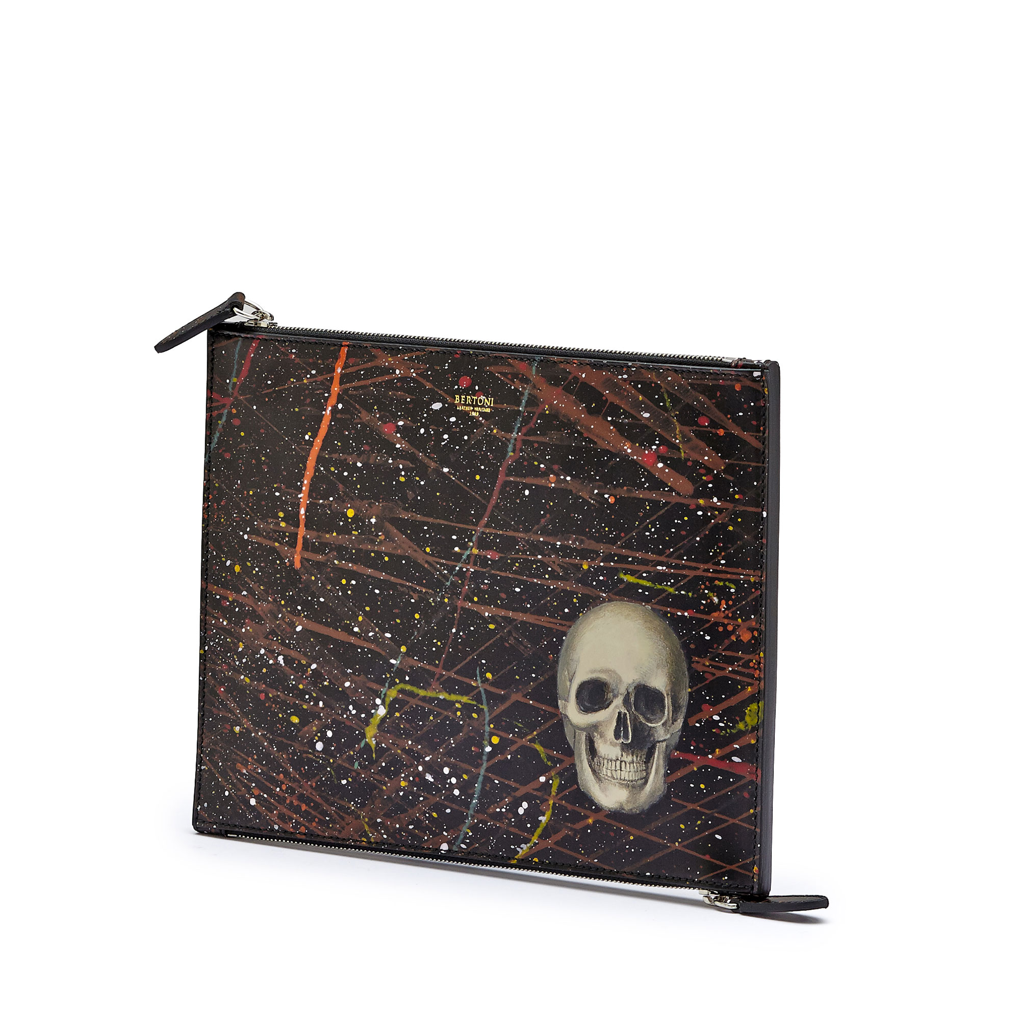 The black with skull french calf Zip Pouch by Bertoni 1949 02