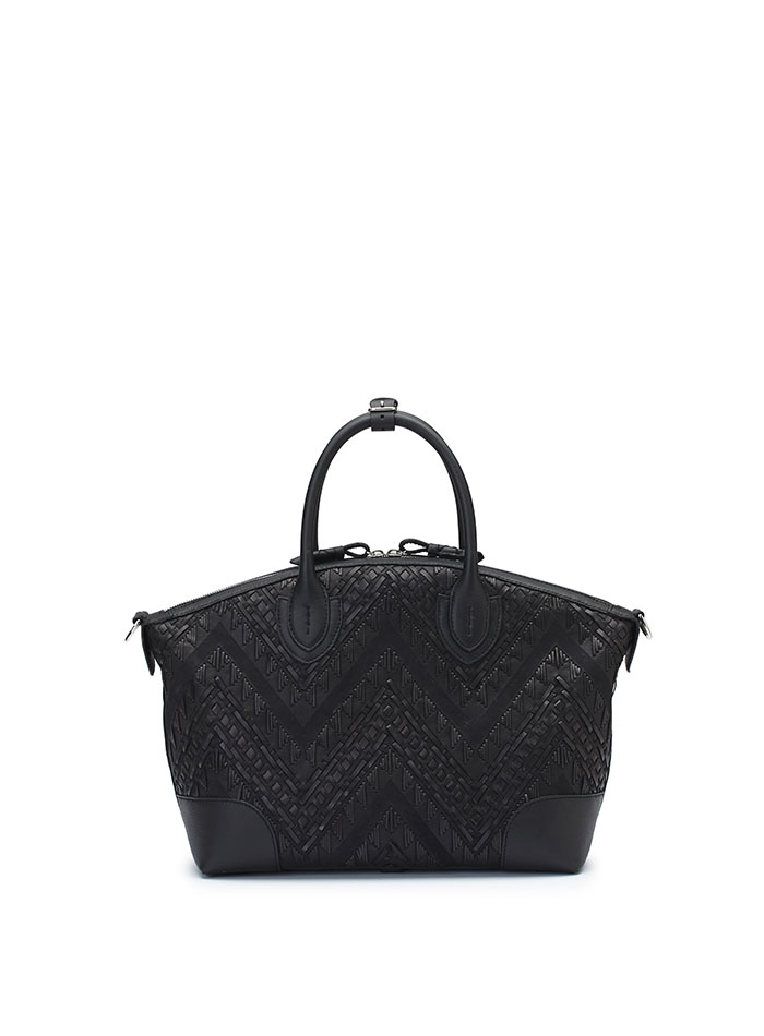 The black braided soft calf Anija bag by Bertoni 1949