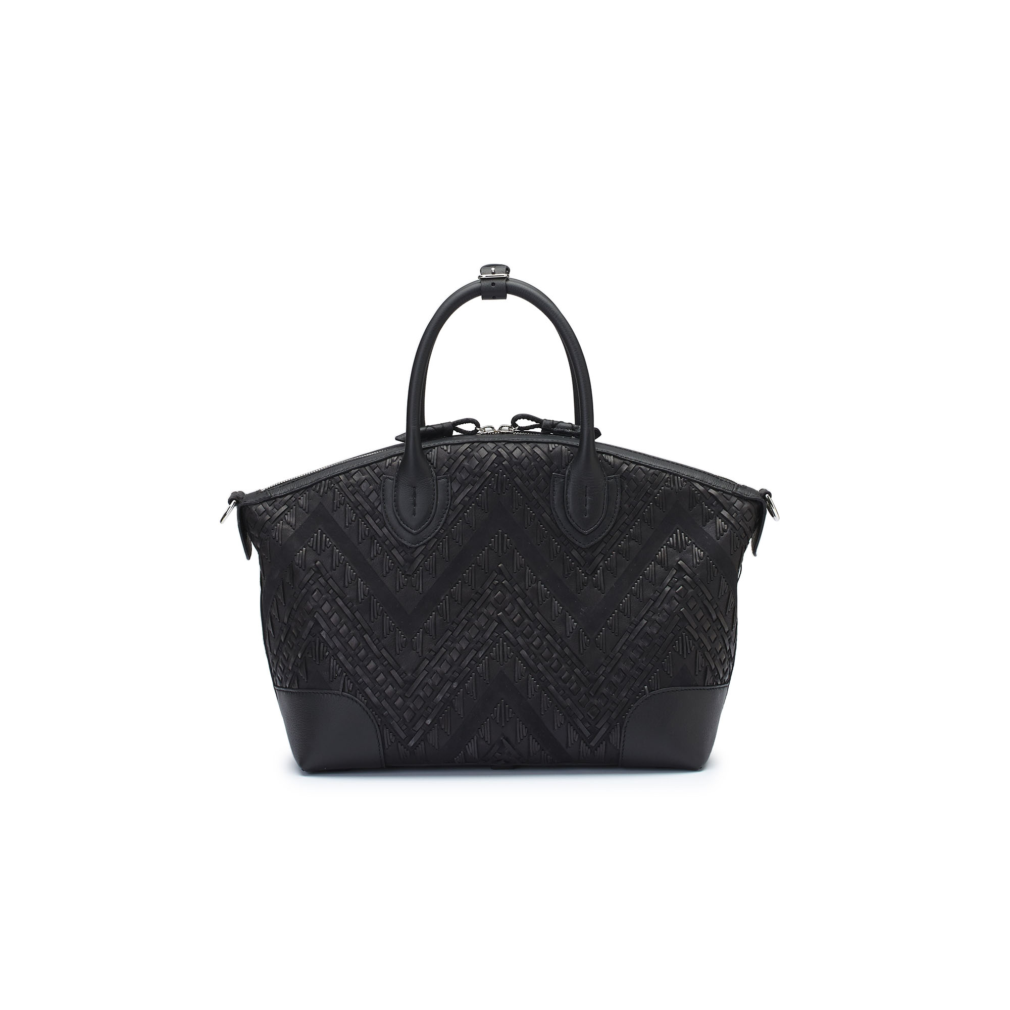 The black braided soft calf Anija bag by Bertoni 1949 01