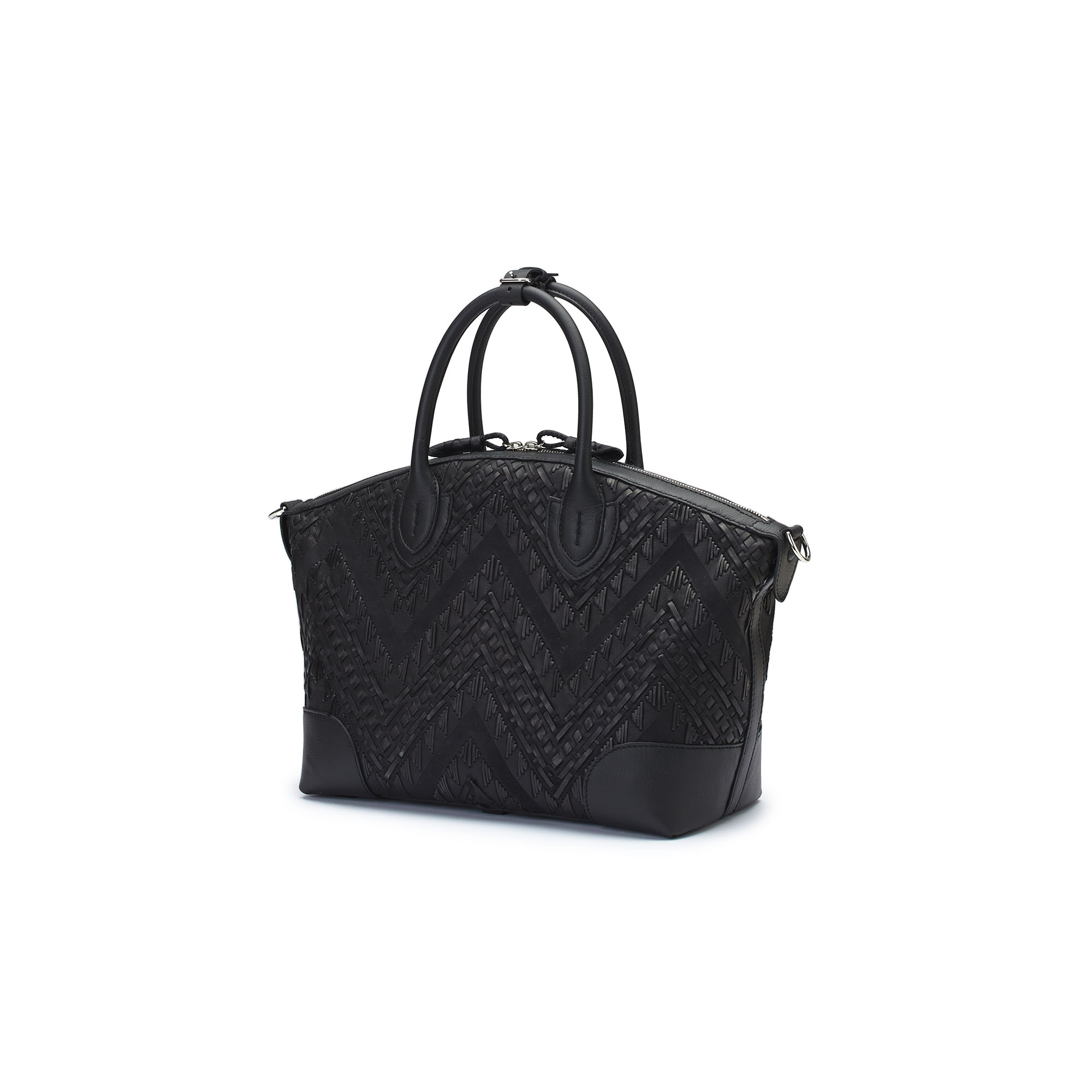 The black braided soft calf Anija bag by Bertoni 1949 04