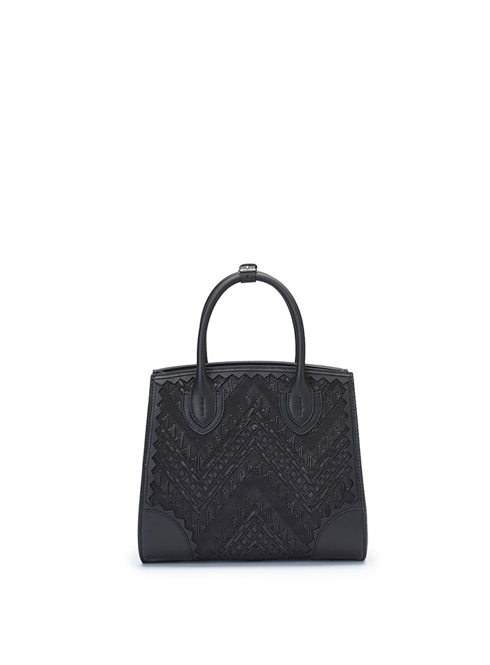 The black stranded leather with soft calf Darcy bag by Bertoni 1949