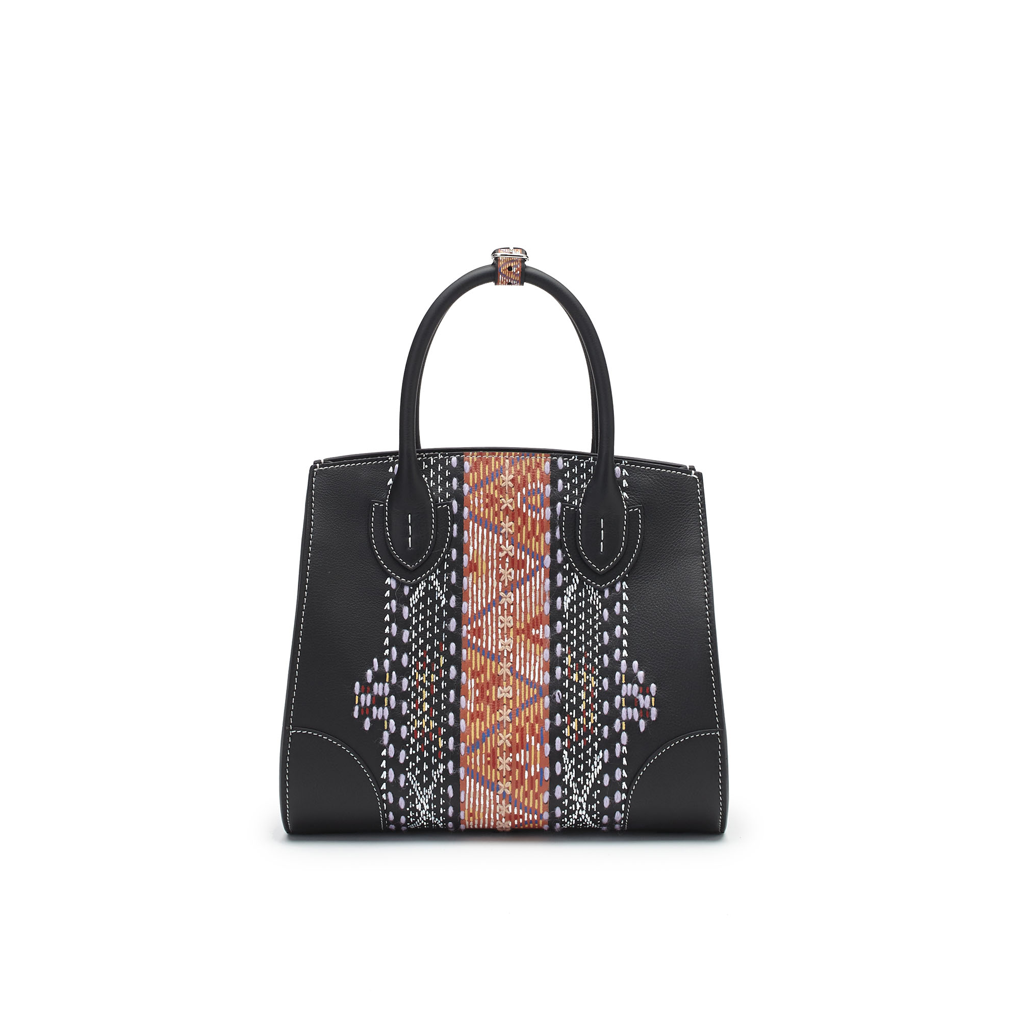 The black soft calf with carpet embroidered and painted by hand Darcy bag by Bertoni 1949 01