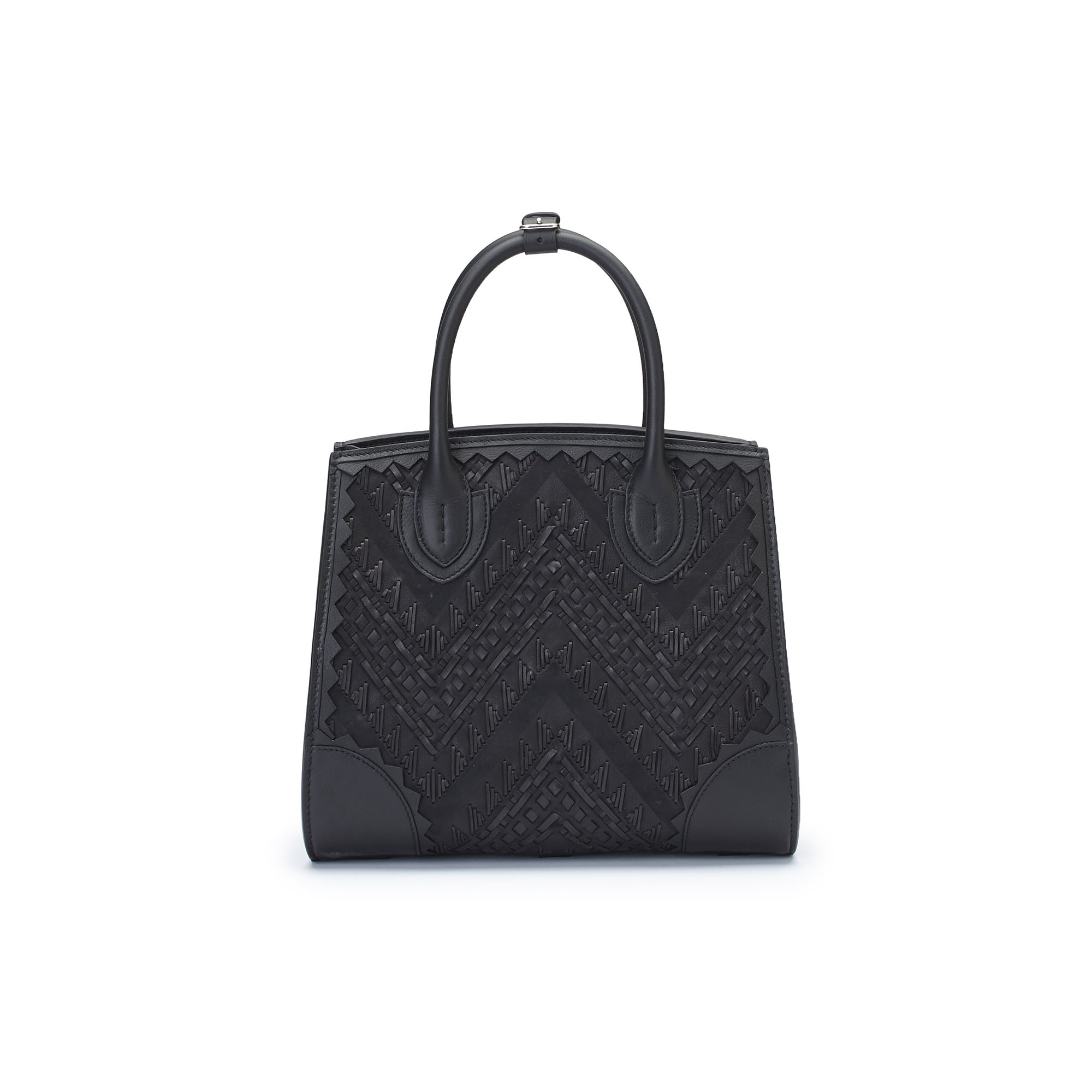 The black stranded leather with soft calf Darcy bag by Bertoni 1949 01