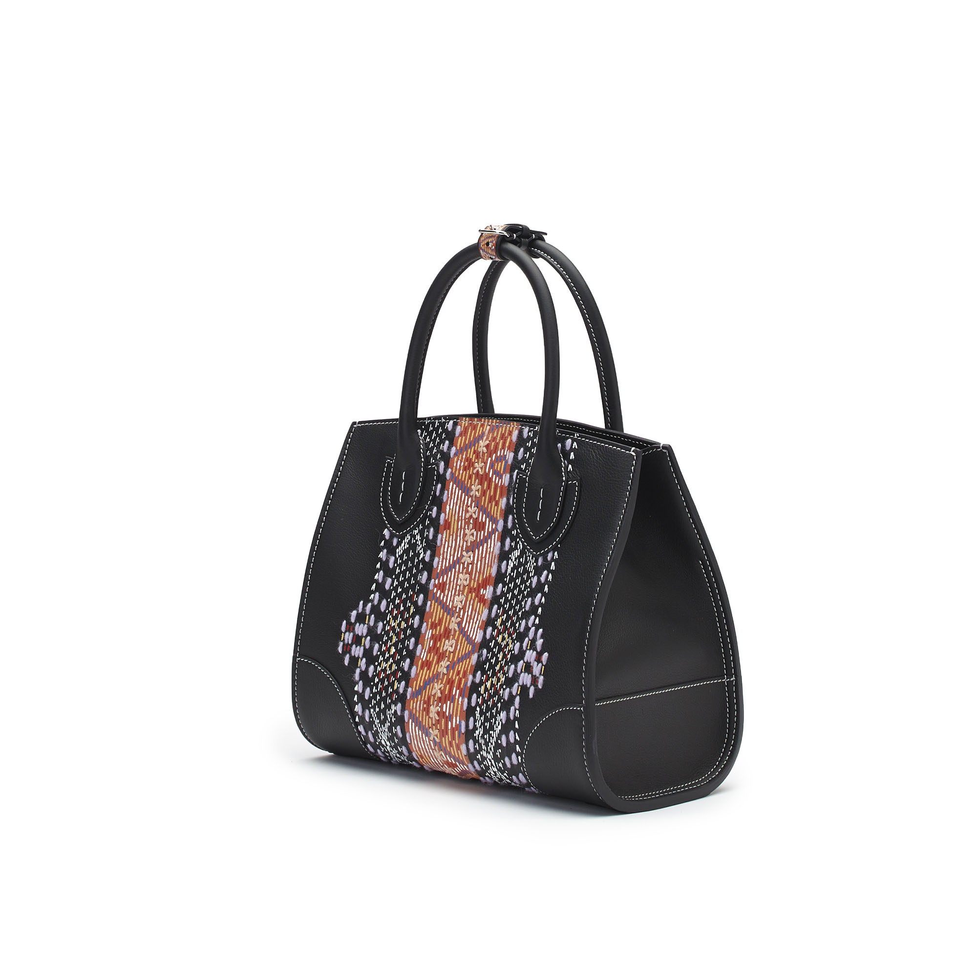 The black soft calf with carpet embroidered and painted by hand Darcy bag by Bertoni 1949 02