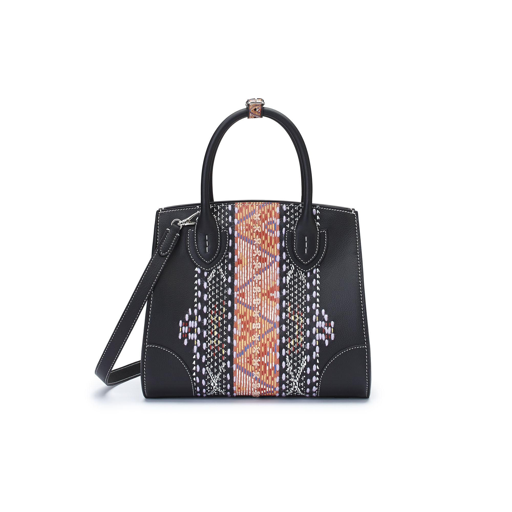 The black soft calf with carpet embroidered and painted by hand Darcy bag by Bertoni 1949 03