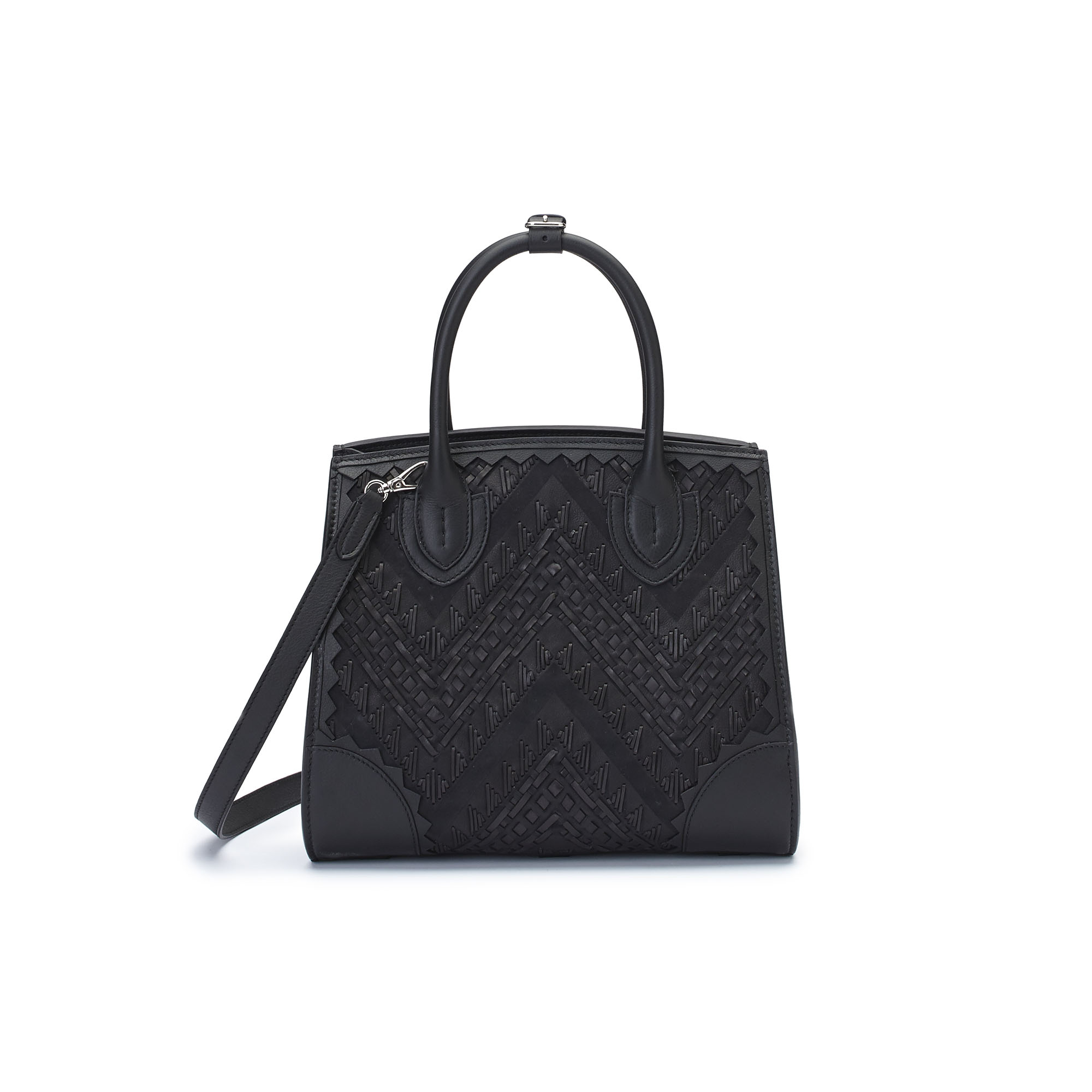 The black stranded leather with soft calf Darcy bag by Bertoni 1949 03