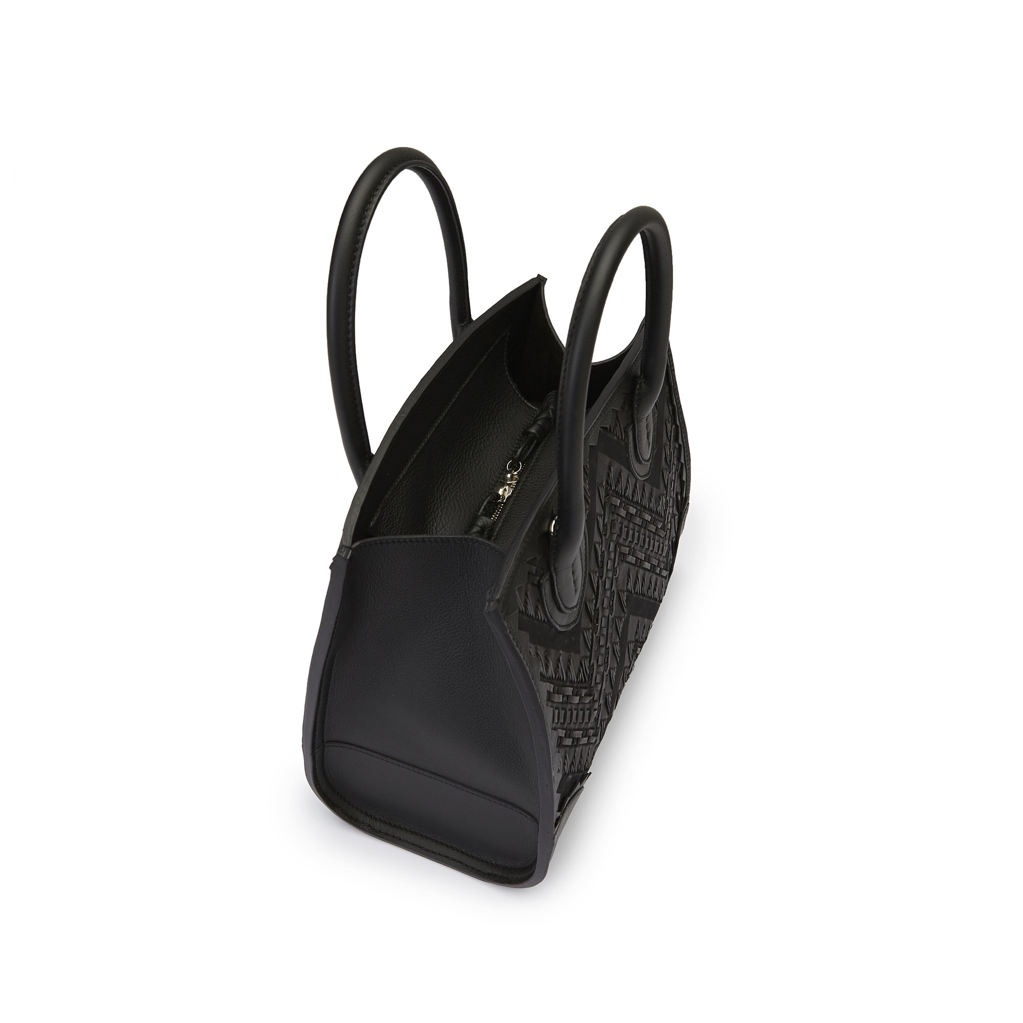 The black stranded leather with soft calf Darcy bag by Bertoni 1949 04