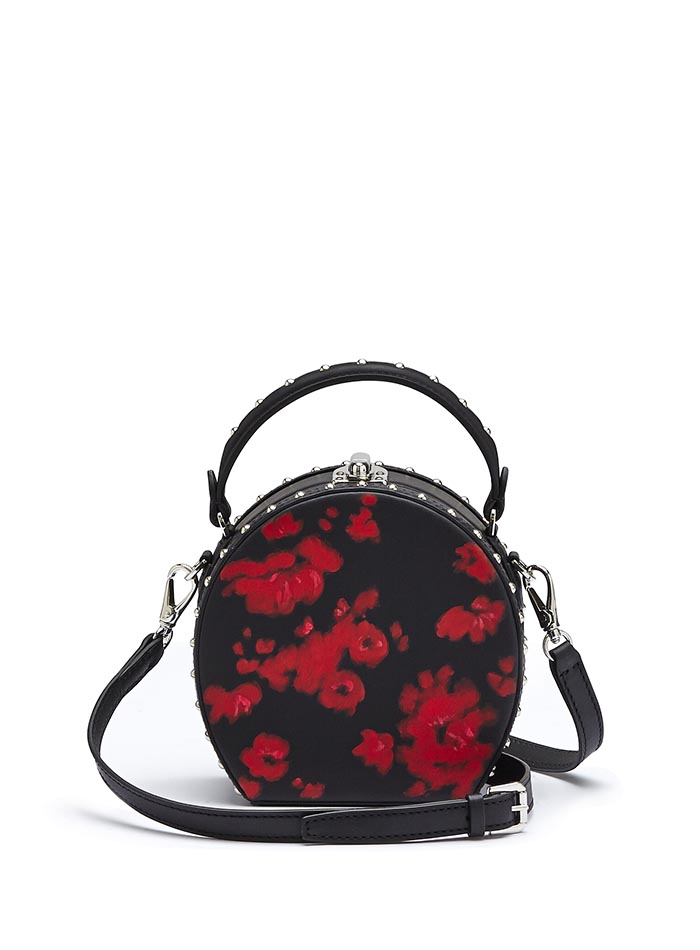The black and red flowers french calf Mini Bertoncina with studded bag by Bertoni 1949