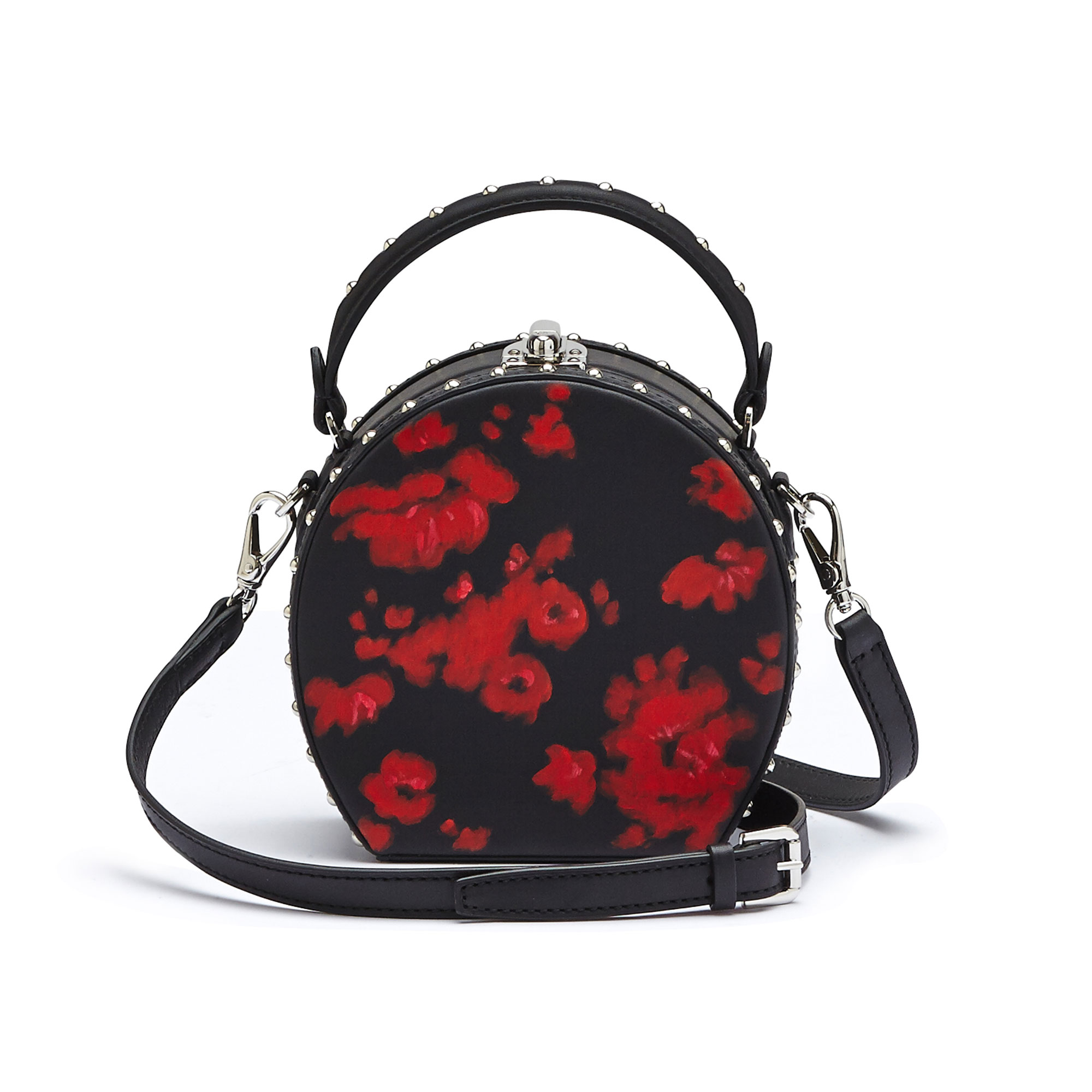 The black and red flowers french calf Mini Bertoncina with studded bag by Bertoni 1949 03