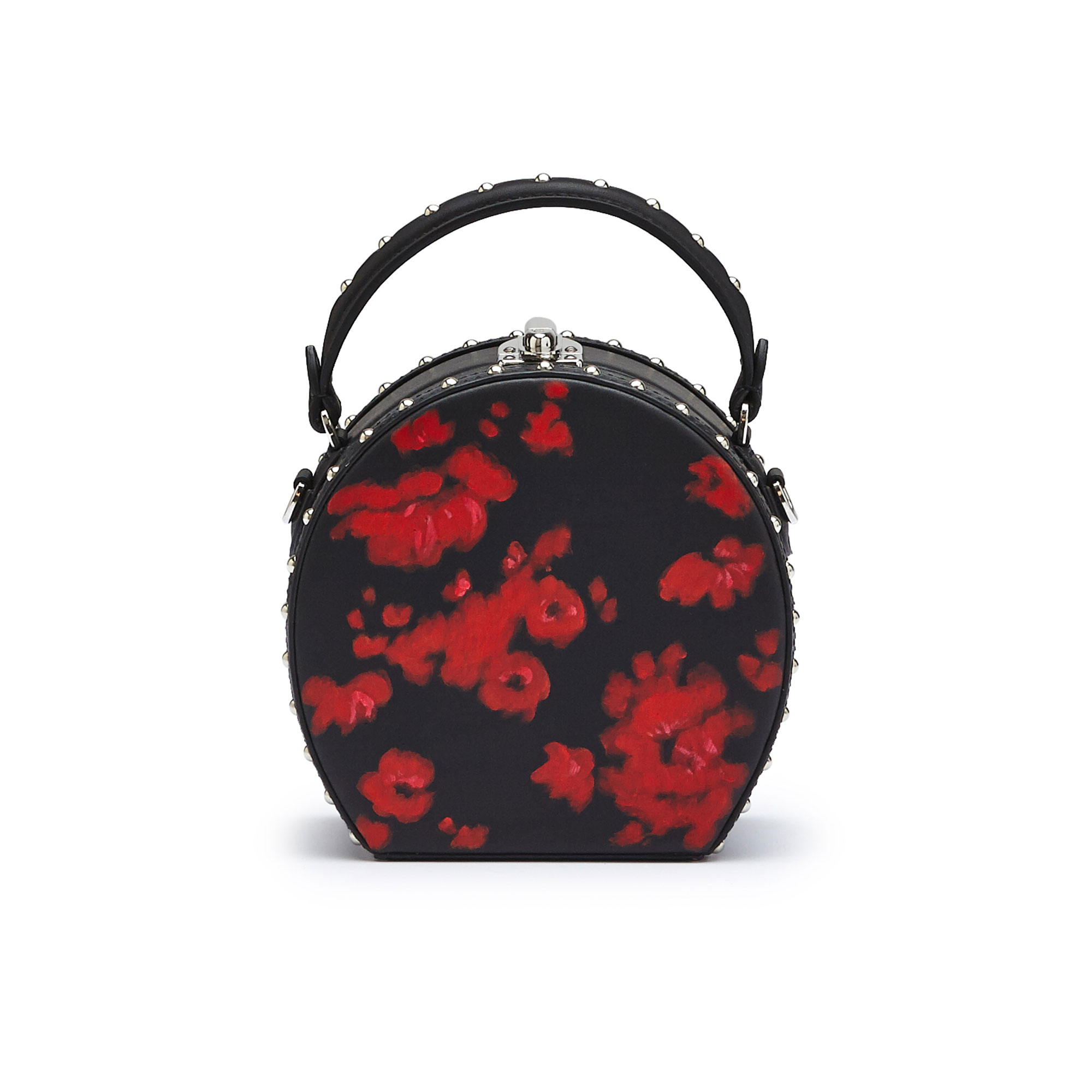 The black and red flowers french calf Mini Bertoncina with studded bag by Bertoni 1949 01