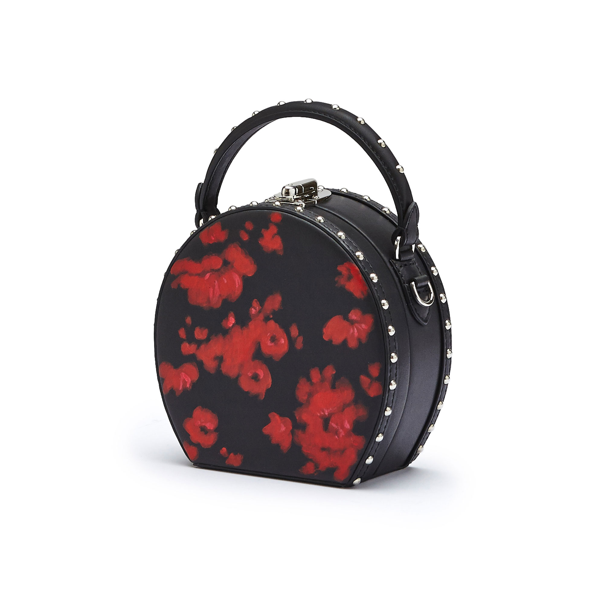The black and red flowers french calf Mini Bertoncina with studded bag by Bertoni 1949 02