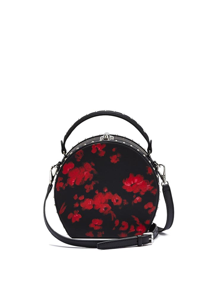 The black and red flowers french calf Regular Bertoncina with studded bag by Bertoni 1949