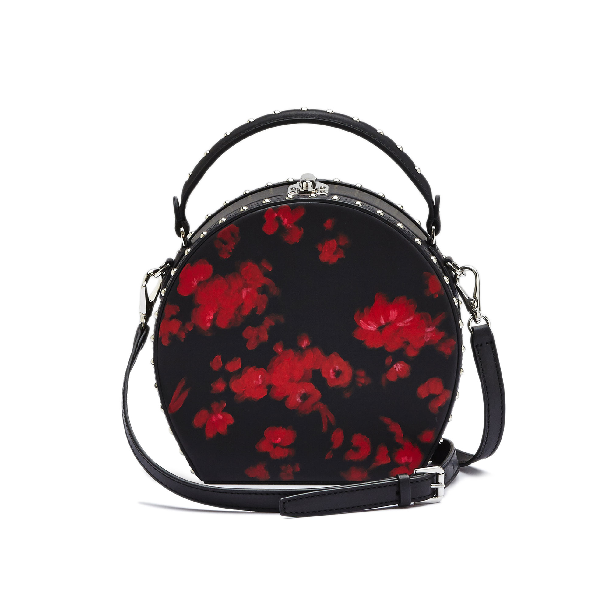The black and red flowers french calf Regular Bertoncina with studded bag by Bertoni 1949 01