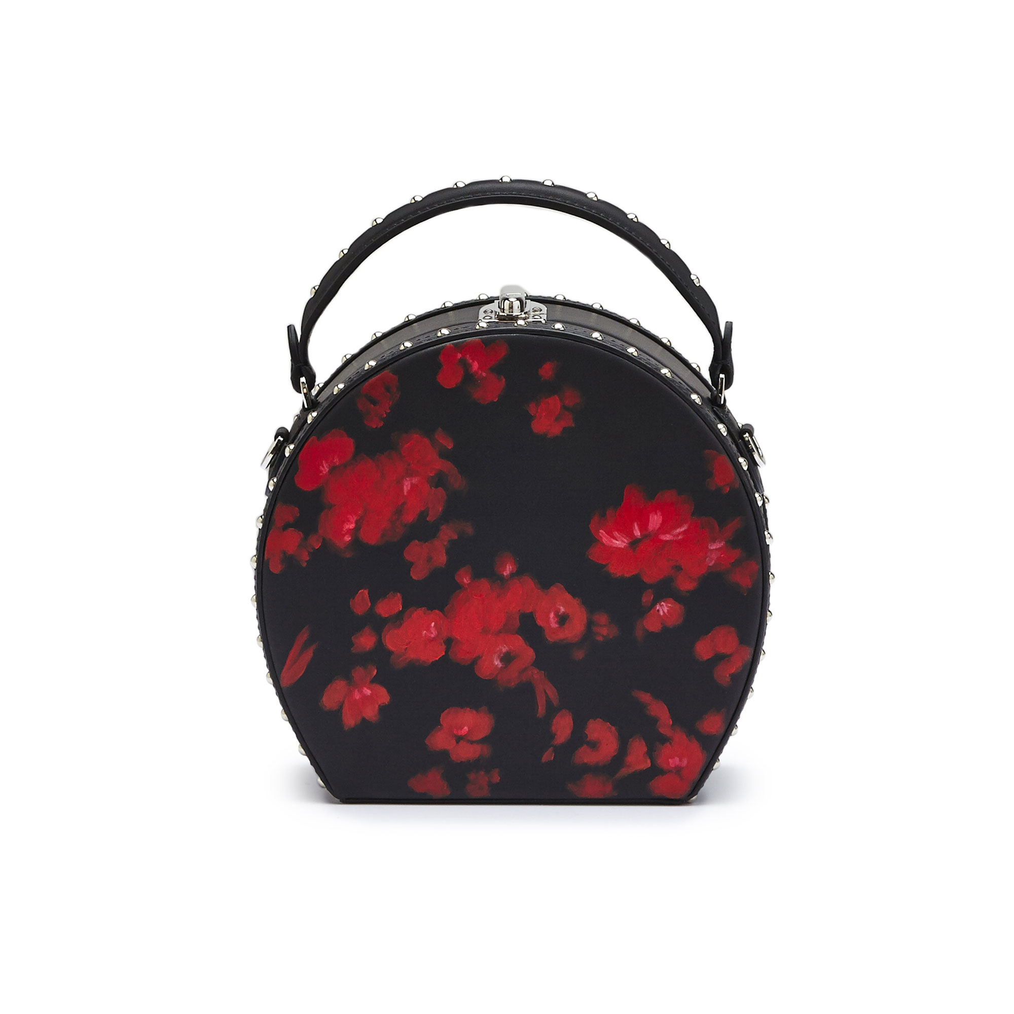 The black and red flowers french calf Regular Bertoncina with studded bag by Bertoni 1949 02