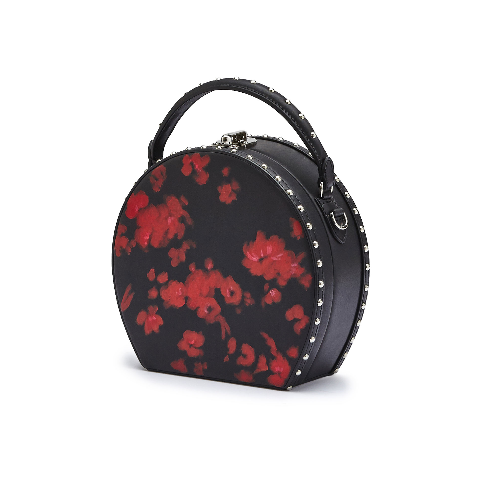 The black and red flowers french calf Regular Bertoncina with studded bag by Bertoni 1949 03
